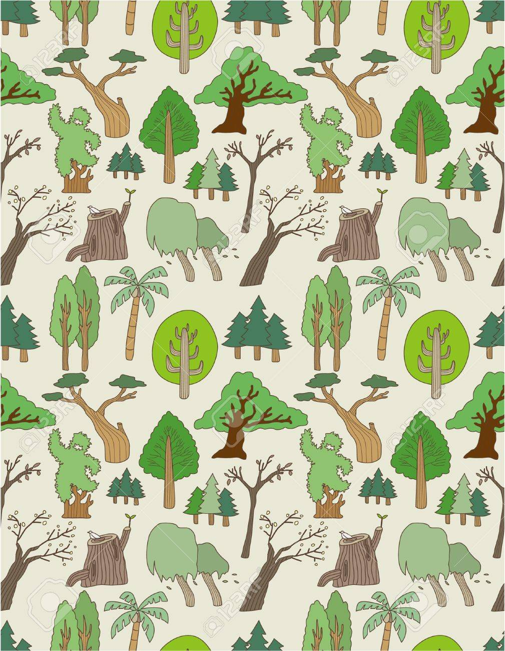 seamless tree pattern Stock Vector - 8505694