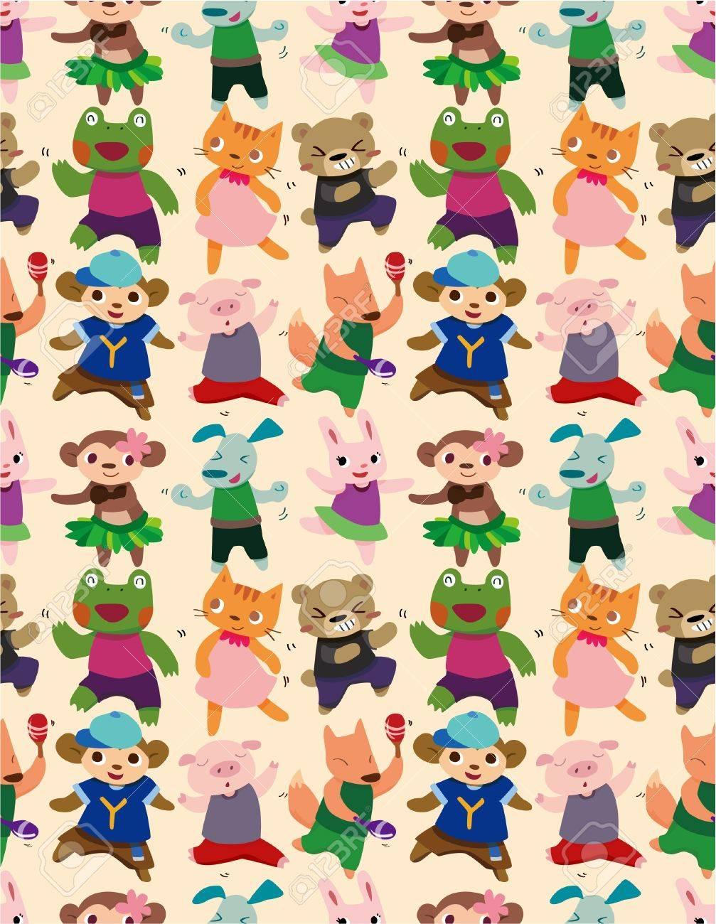 seamless animal dance pattern Stock Vector - 8505653