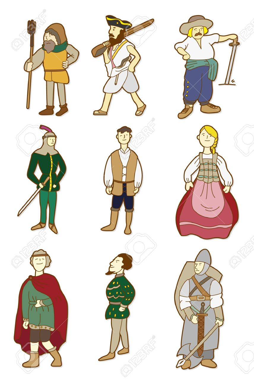 cartoon Middle Ages people Stock Vector - 8545604