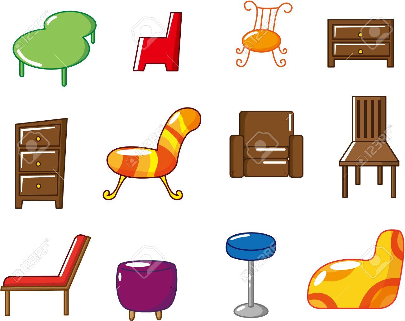 icono de muebles de dibujos animados ilustraciones vectoriales ... - Dibujo De Muebles