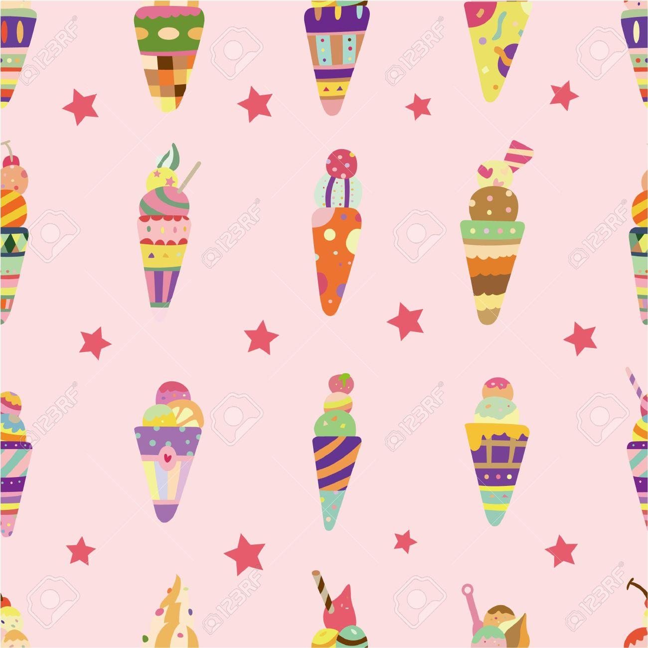 seamless ice cream pattern Stock Vector - 8598810