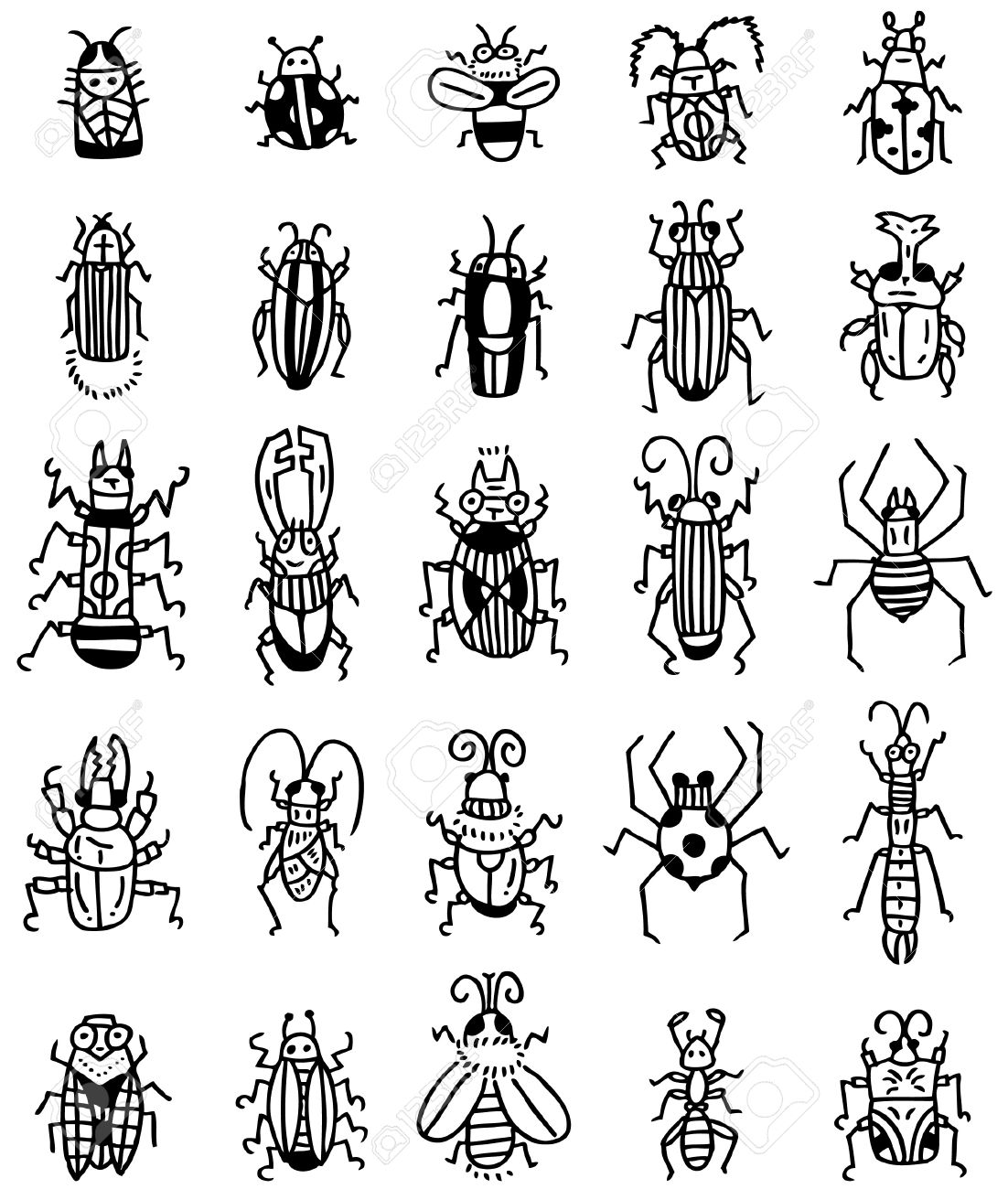 hand draw insect icon royalty free cliparts vectors and stock