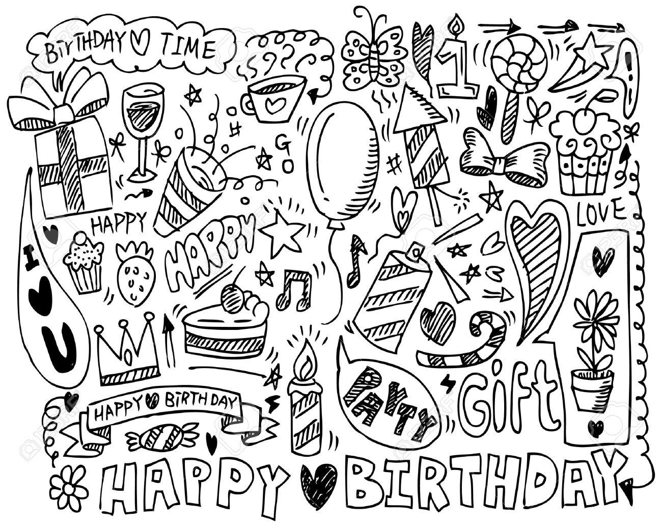 hand draw birthday element Stock Vector - 8713491