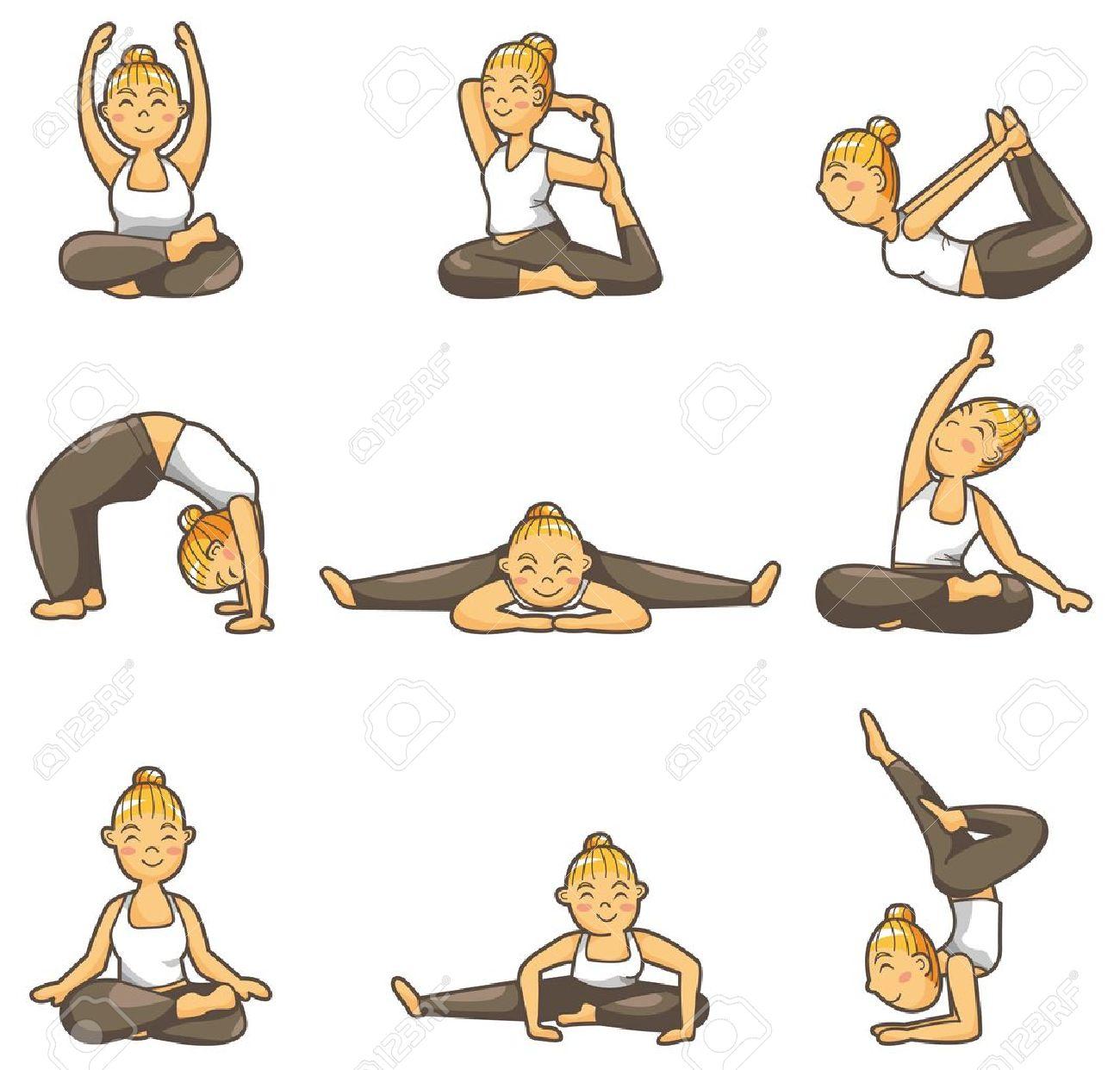 cartoon yoga girl icon - 8918605