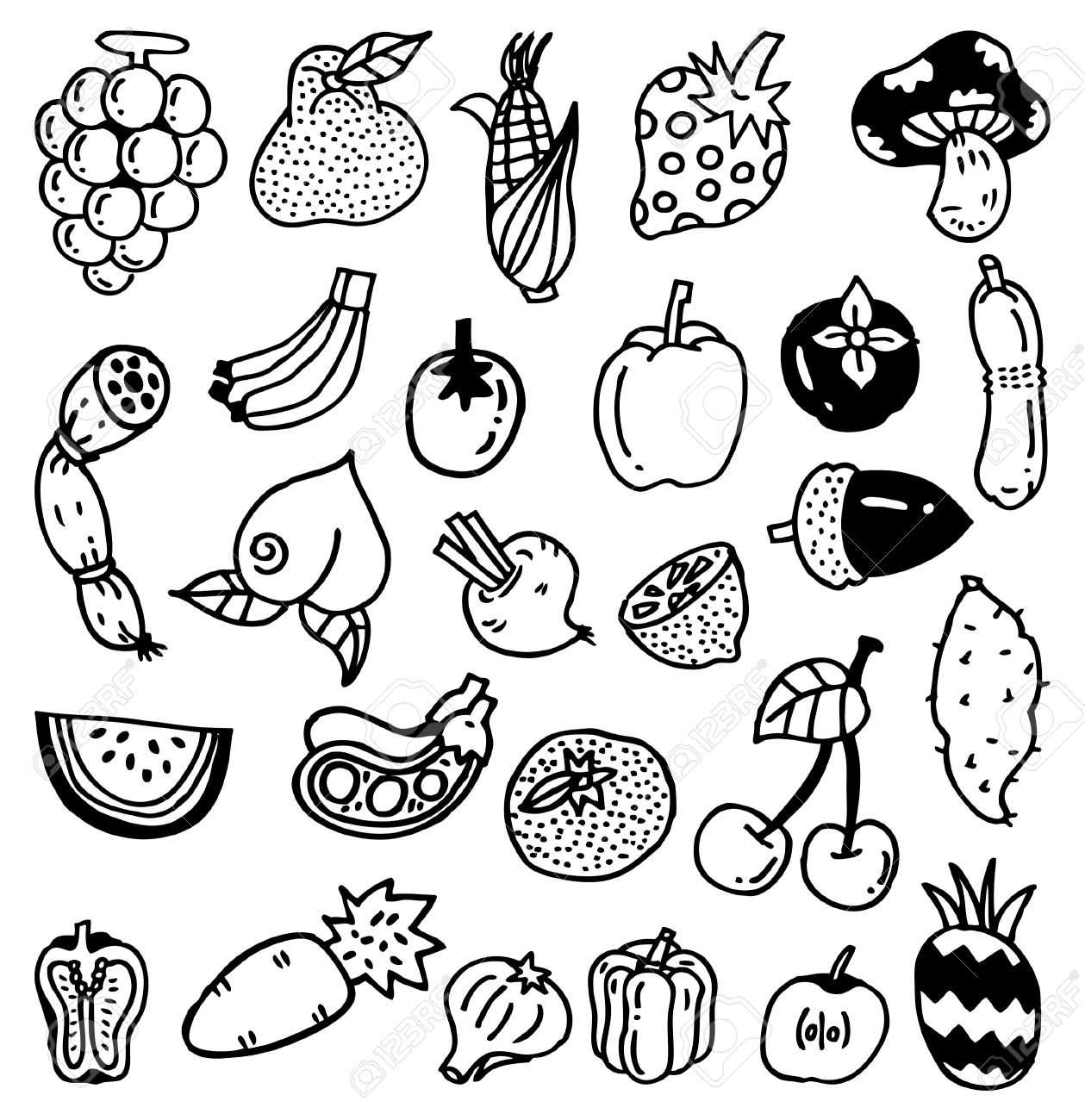 Fruit Sketch Drawing Hand Draw Vegetable Fruit