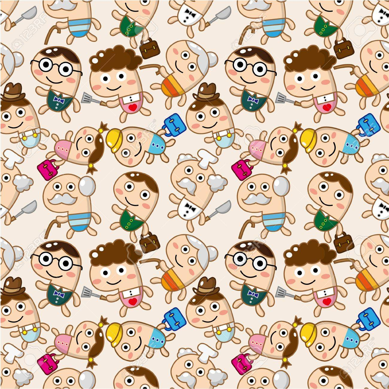 seamless family pattern Stock Vector - 8927477