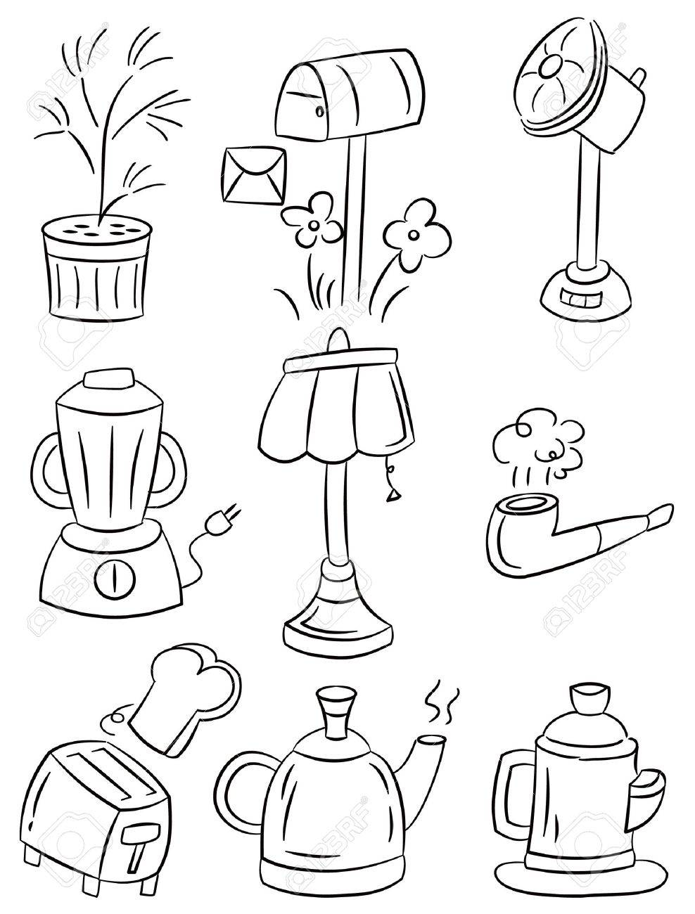 hand draw home appliances cartoon icon Stock Vector - 8927527
