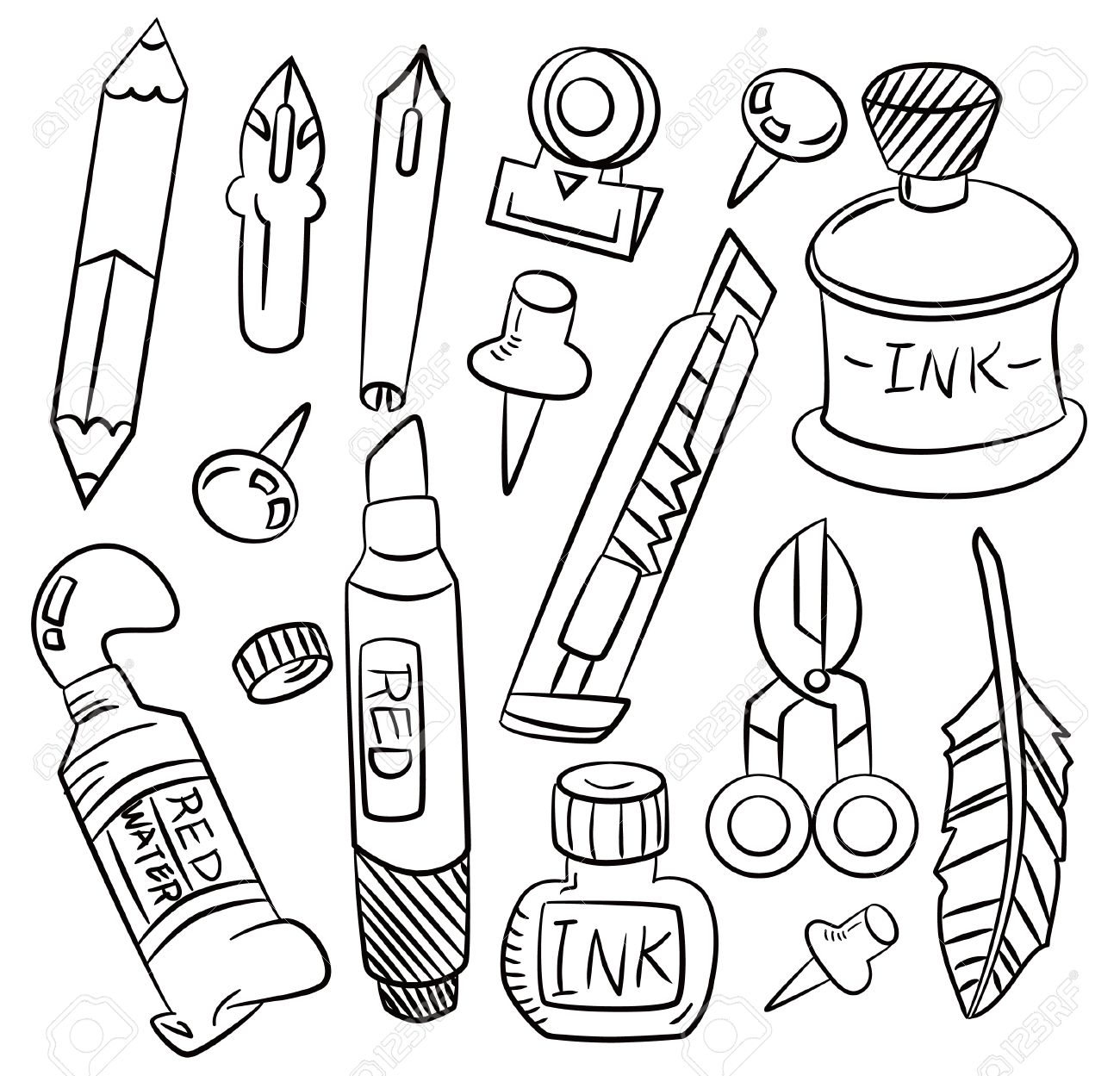 hand draw cartoon stationery icon Stock Vector - 8927571