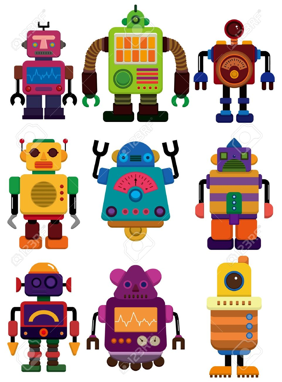Cartoon Color Robot Icon Royalty Free Cliparts Vectors And Stock