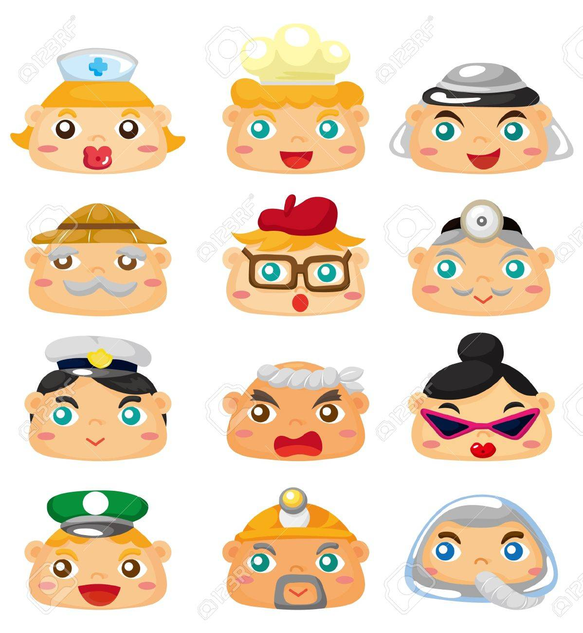 cartoon people face icon Stock Vector - 8984277