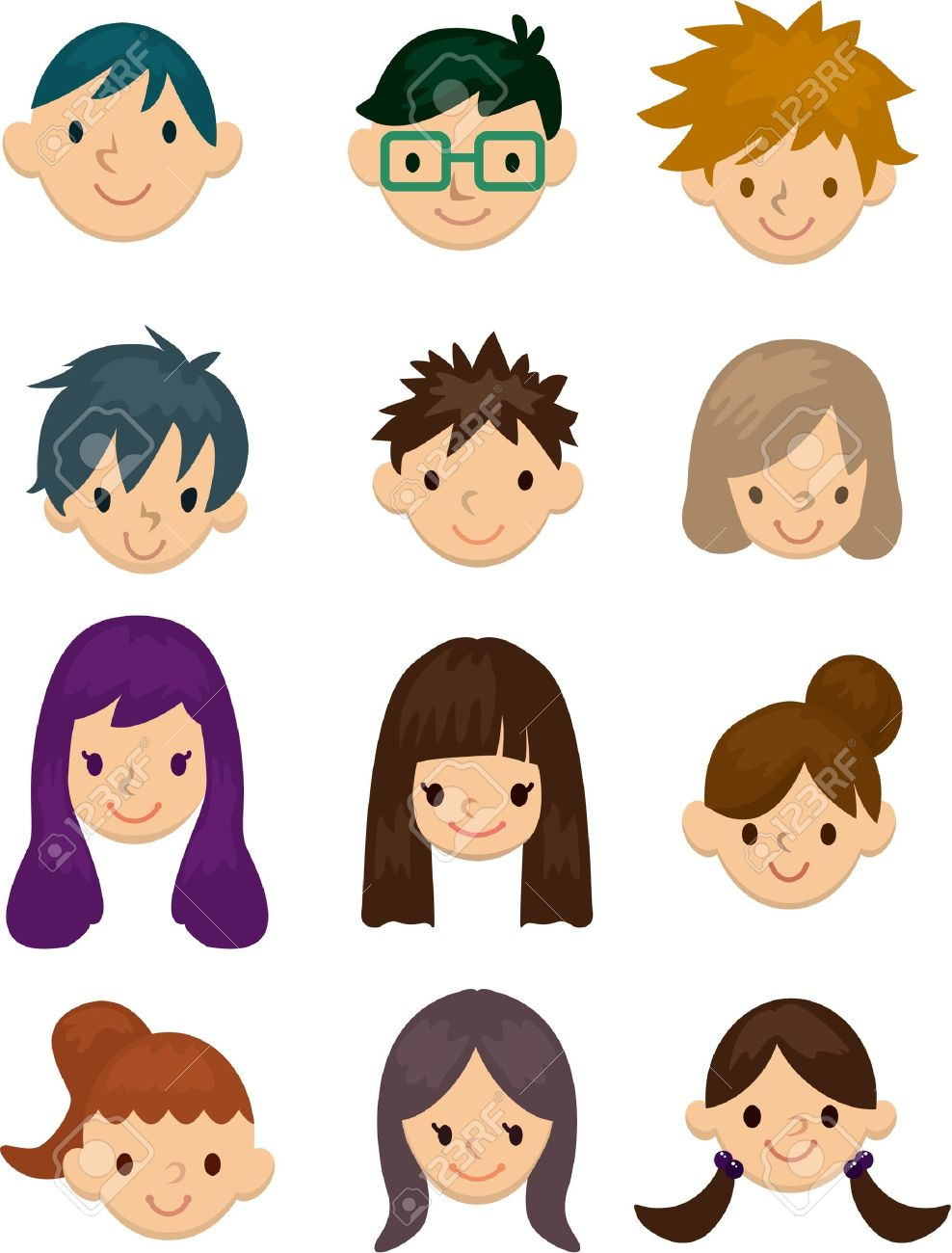 Cartoon Young People Face Icon Royalty Free Cliparts, Vectors, And ...