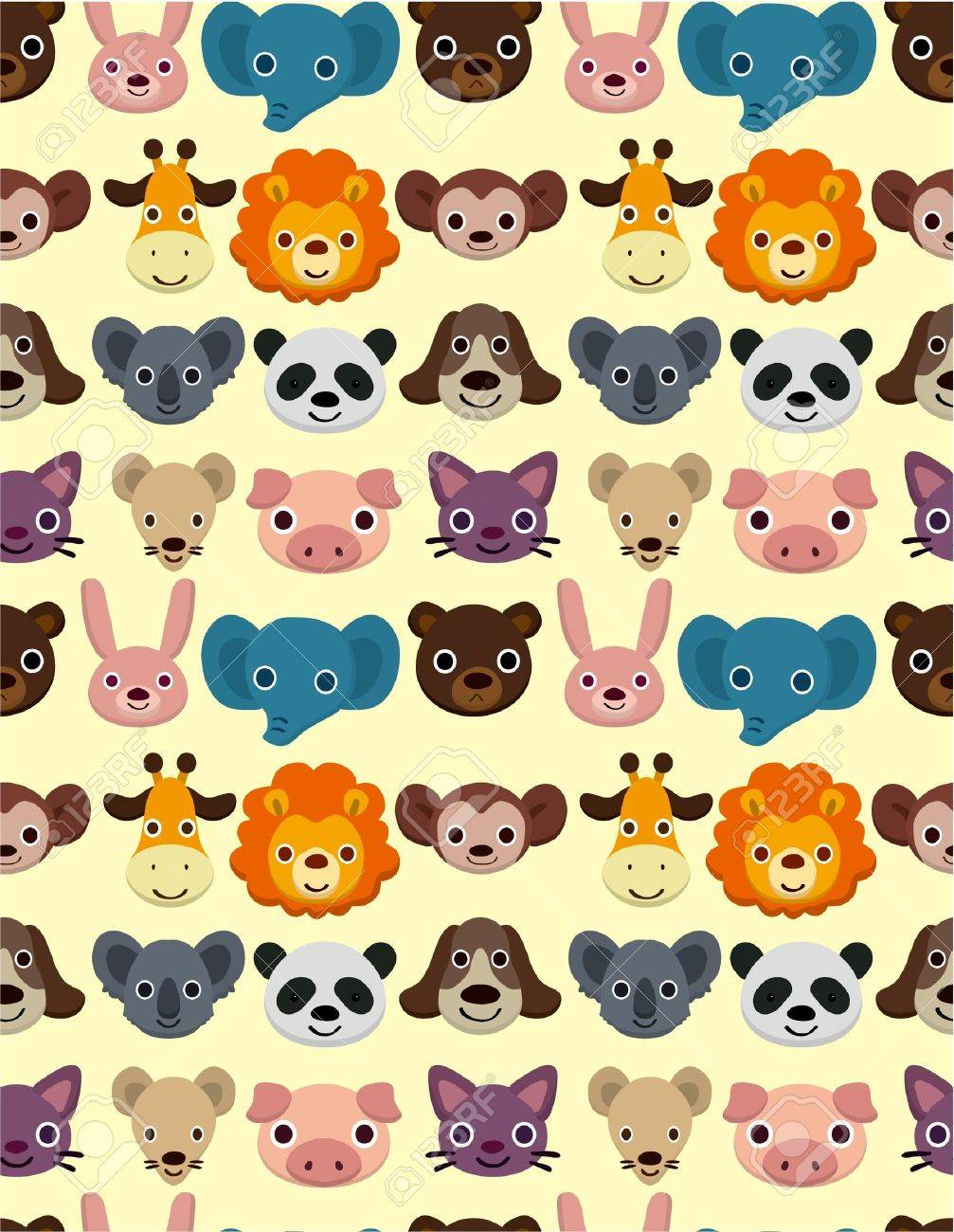 seamless animal face pattern Stock Vector - 9148224