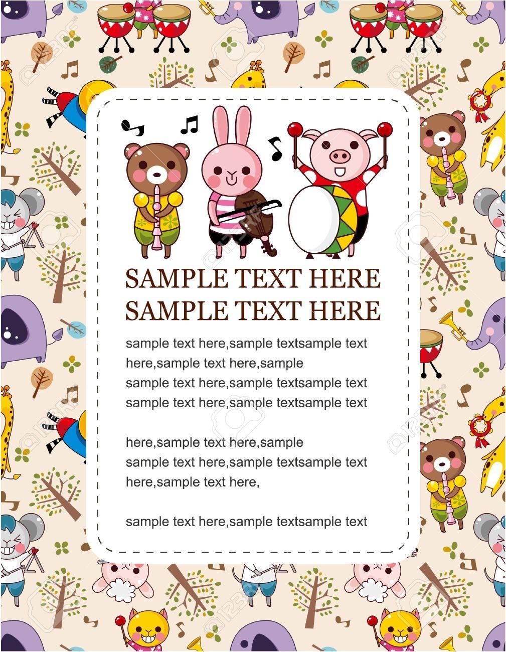 animal play music card Stock Vector - 9221312