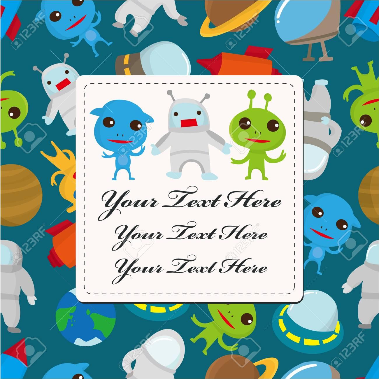 cartoon space card Stock Vector - 9222370