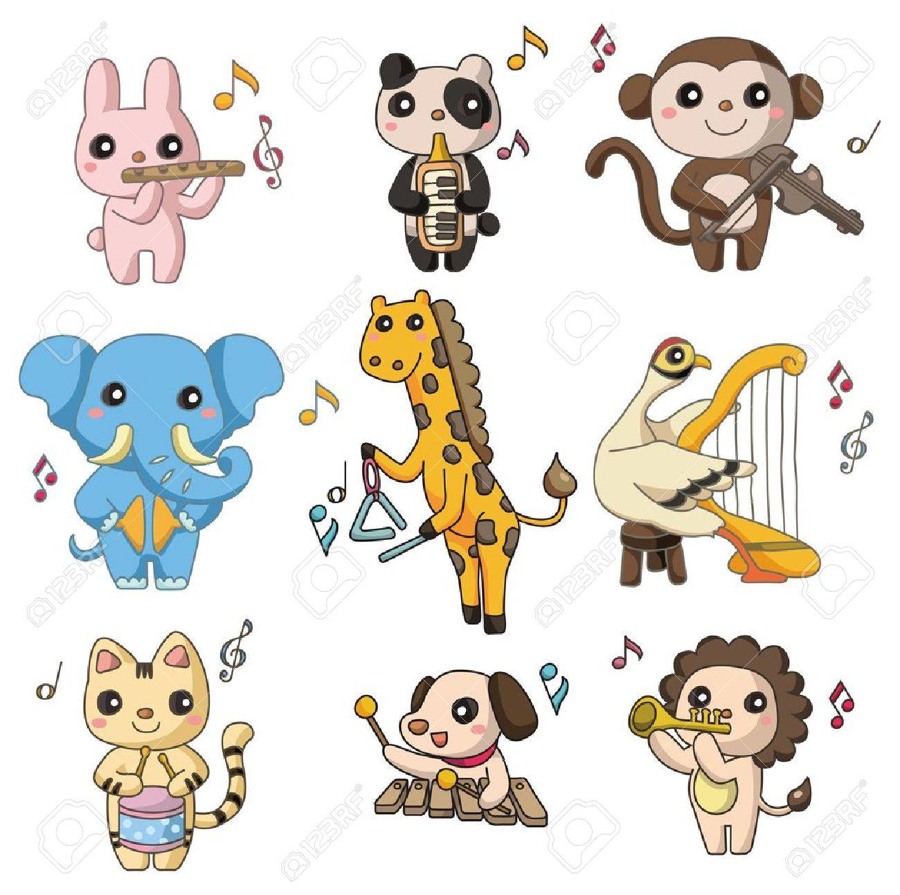cartoon animal play music  icon Stock Vector - 9221317