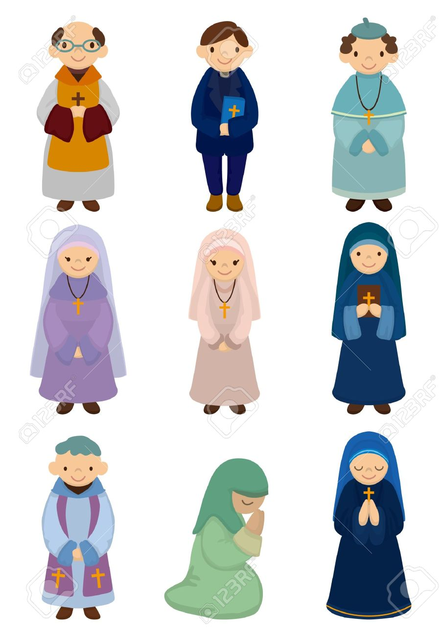 cartoon priest and nun icon royalty free cliparts vectors and