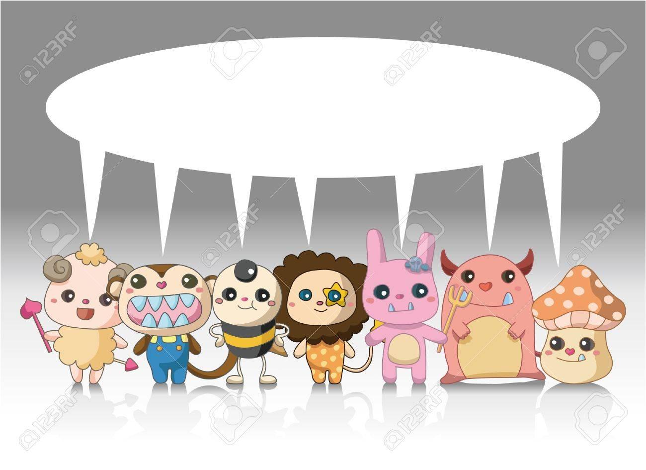Cartoon Monster Animal Card Royalty Free Cliparts, Vectors, And ...