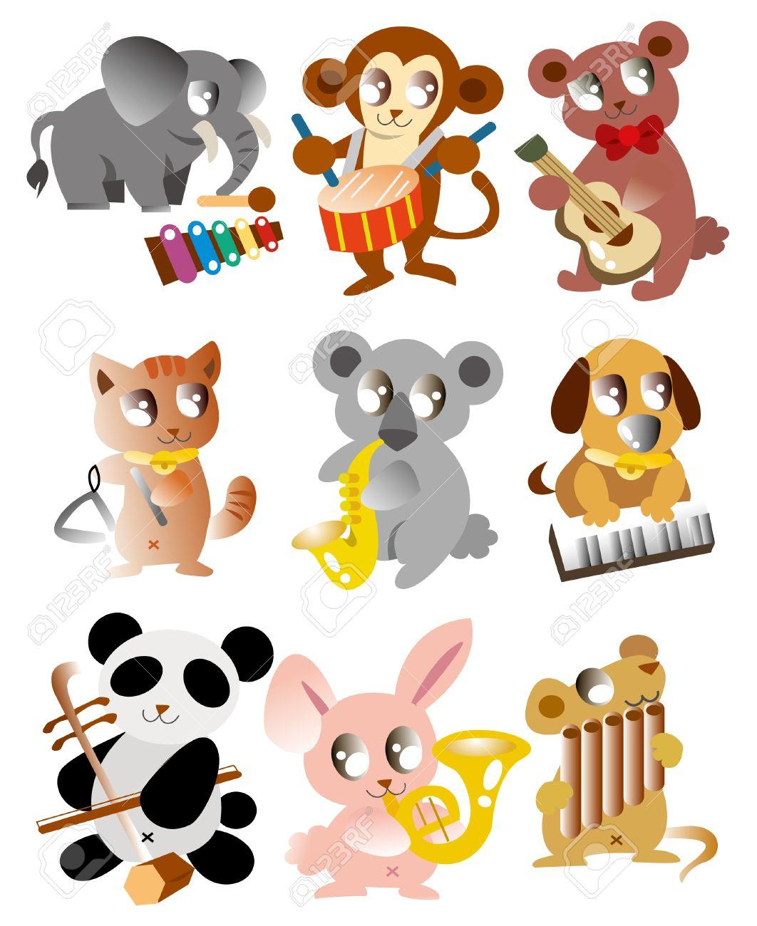 cartoon animal play music icon Stock Vector - 9427895