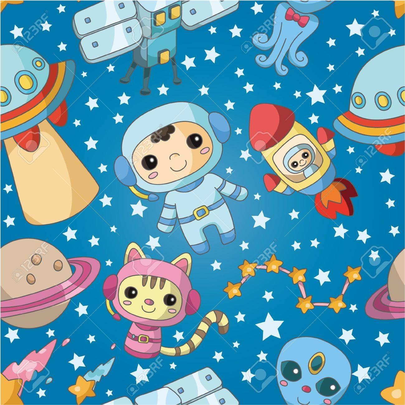 seamless cartoon space pattern - 9427887