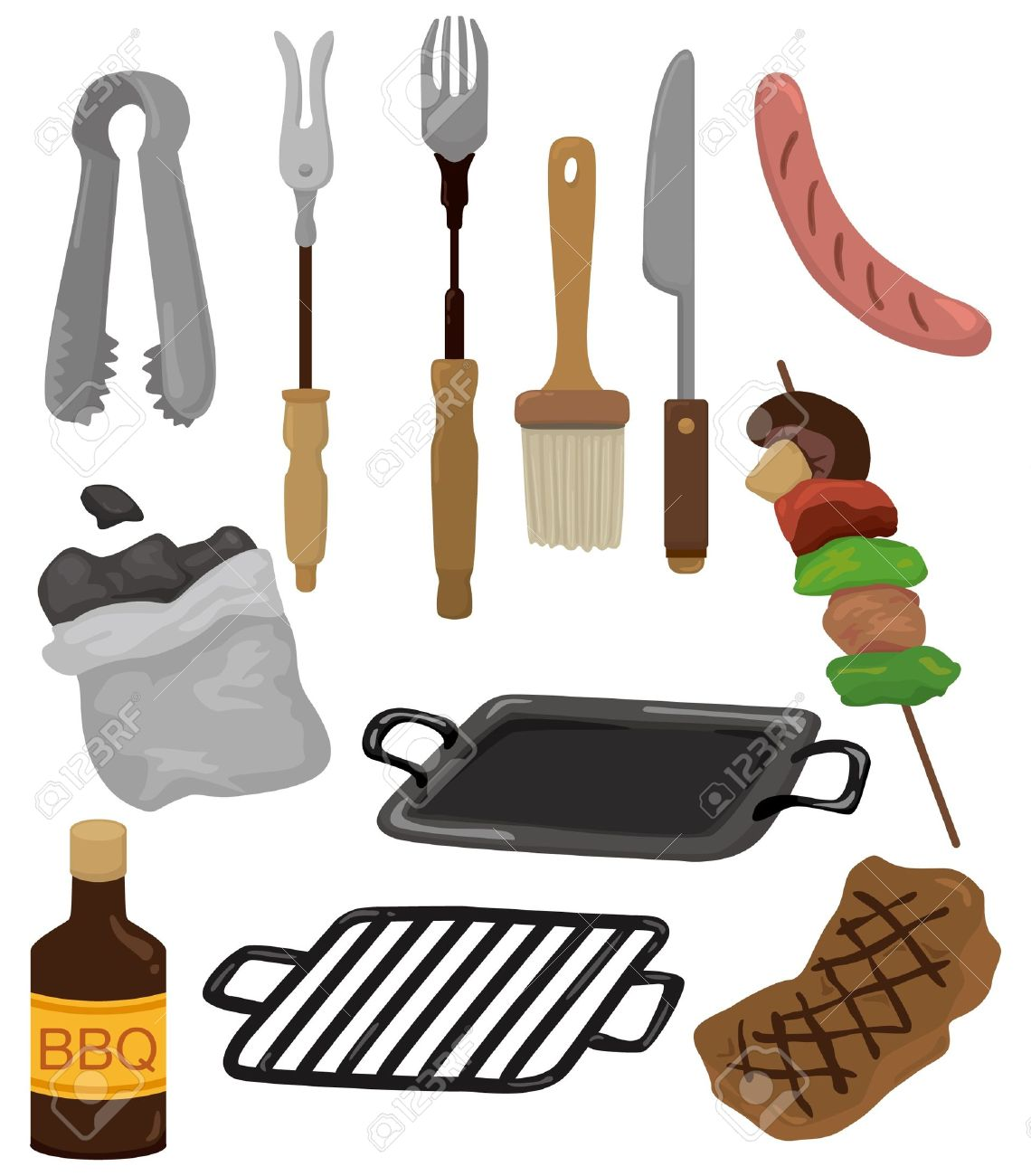 grilling tools cartoon barbeque party tool set icon - Grilling Tools