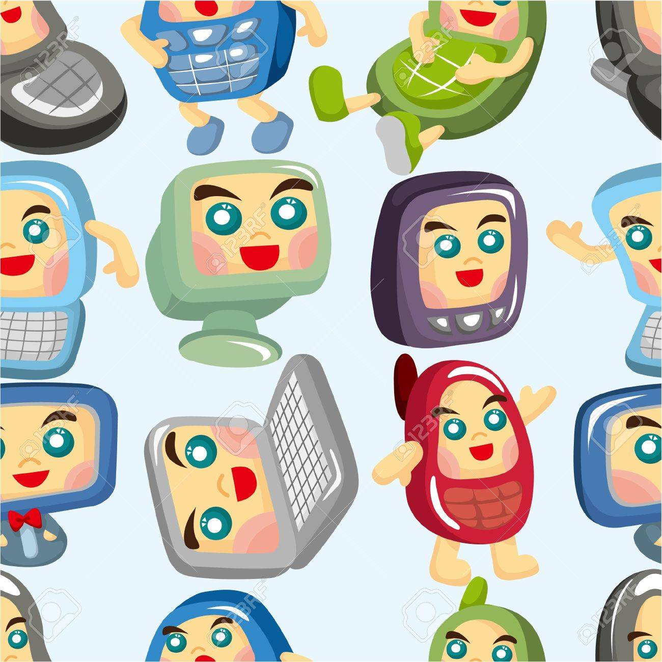 cartoon computer and phone set seamless pattern Stock Vector - 9477505