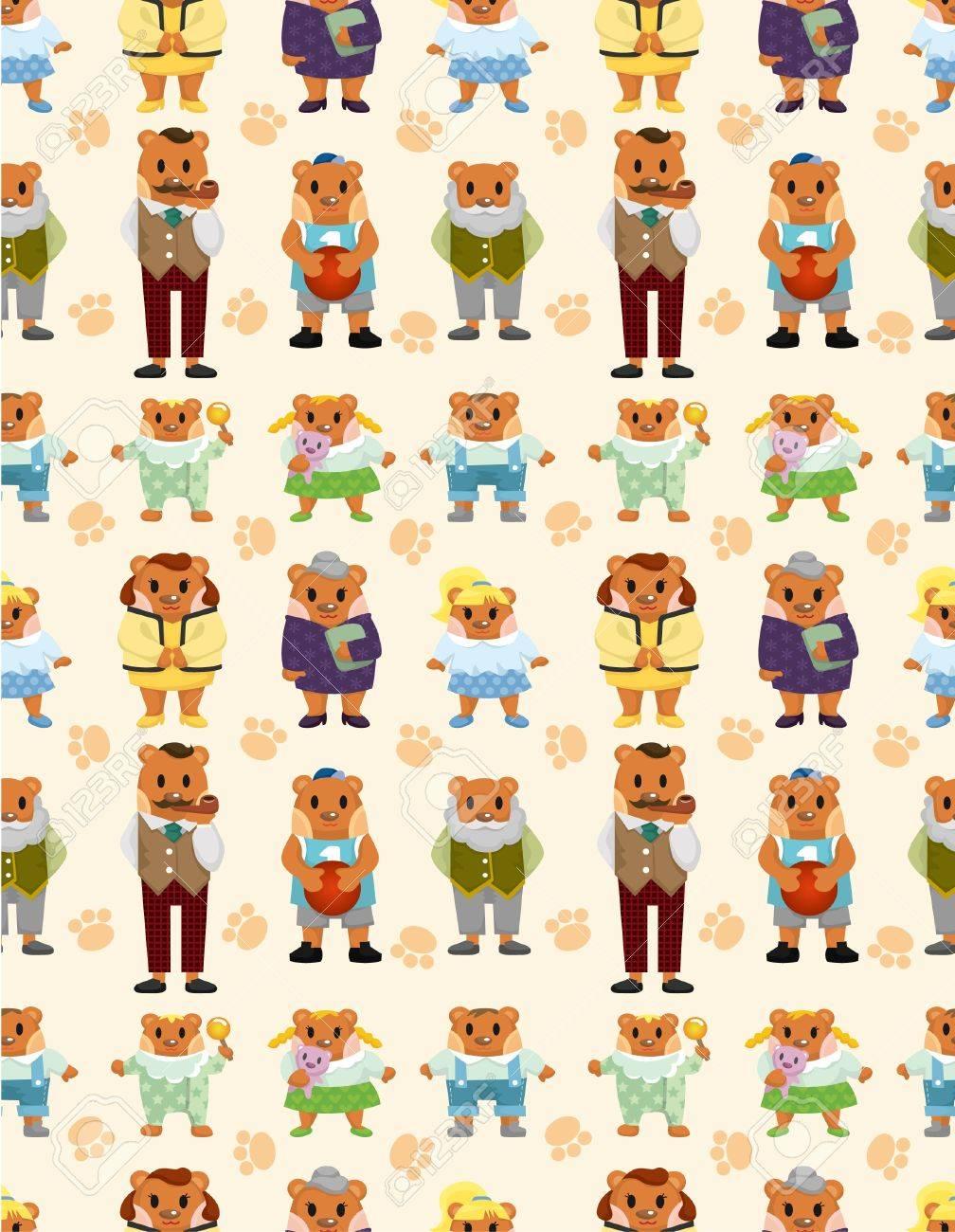 cartoon bear family icon set seamless pattern Stock Vector - 9477557