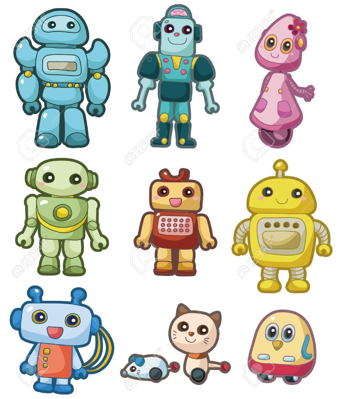 Cute Robot Icon Cartoon Robot Icon Set Cute