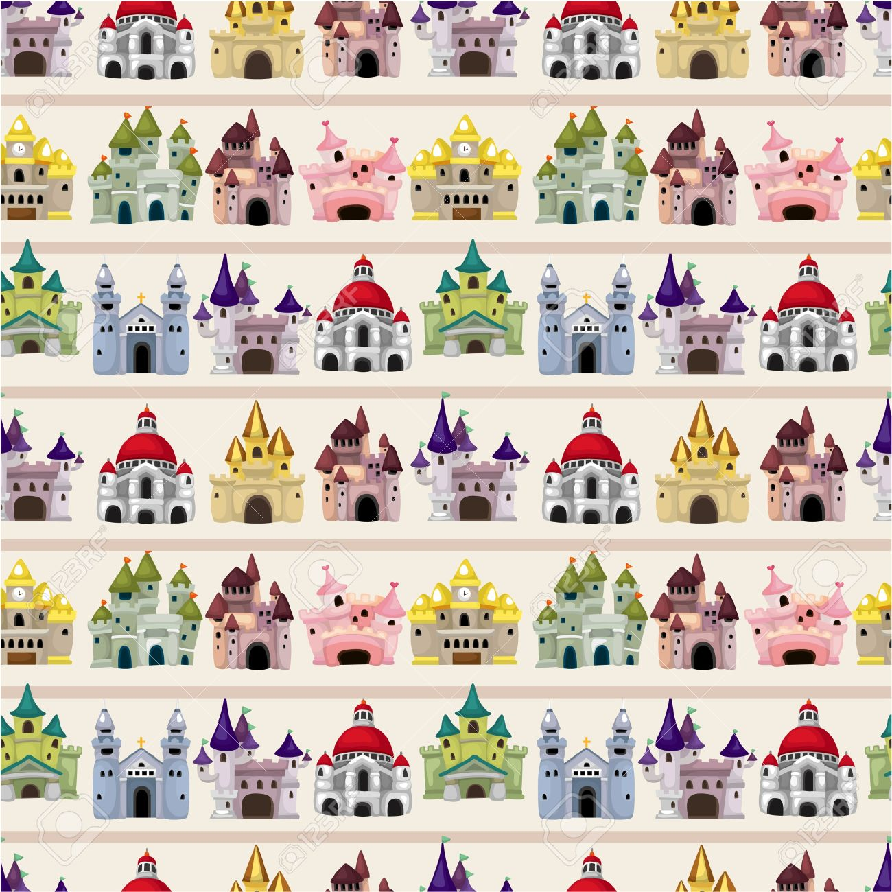 cartoon Fairy tale castle seamless pattern Stock Vector - 9525788