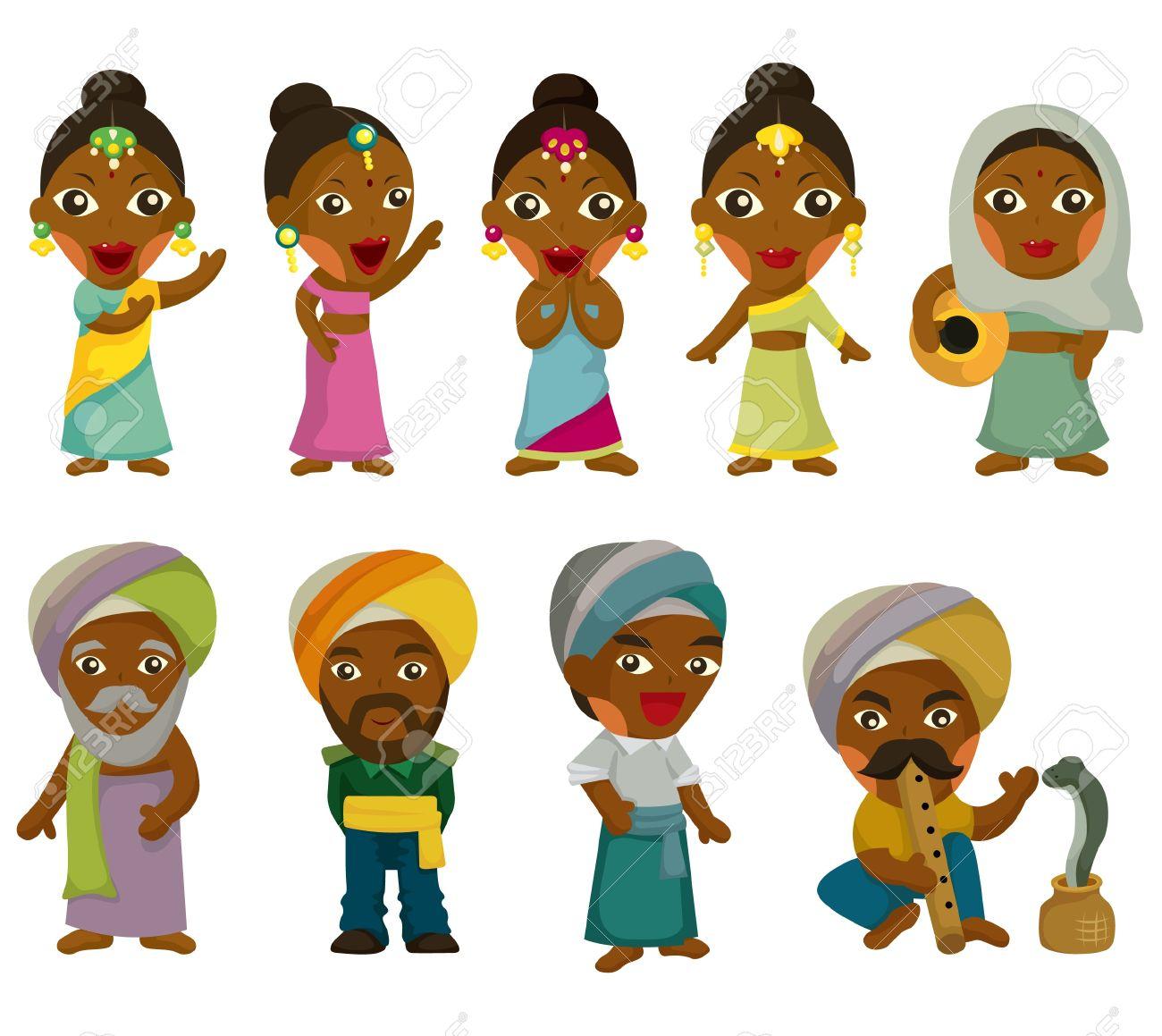 Vector Of Cartoon Indian Icon Set Royalty Free Cliparts, Vectors ...