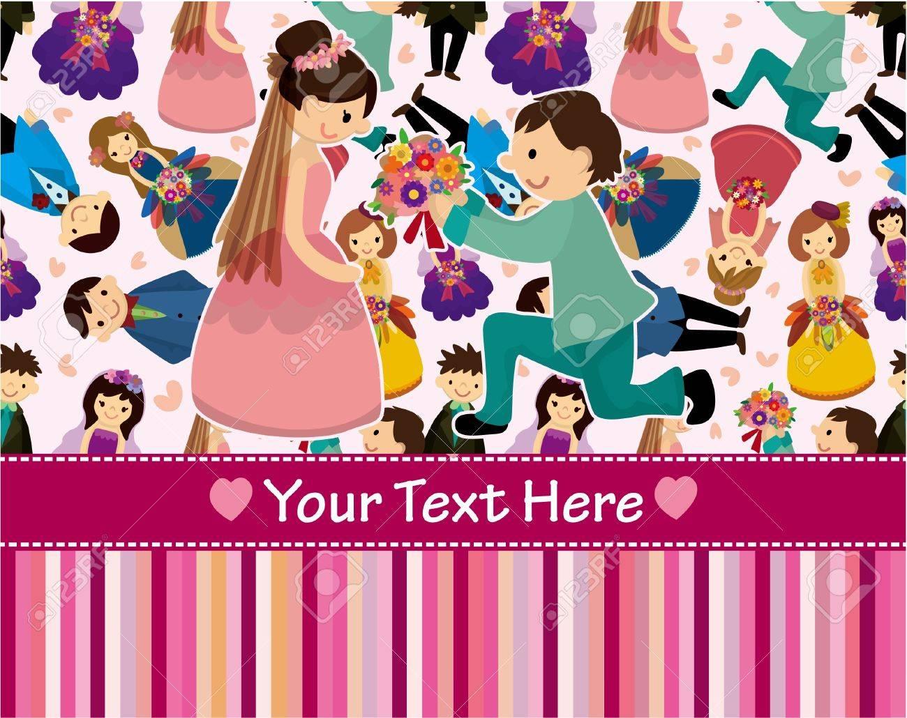 cartoon Wedding ceremony - bride and groom seamless pattern Stock Vector - 9598579