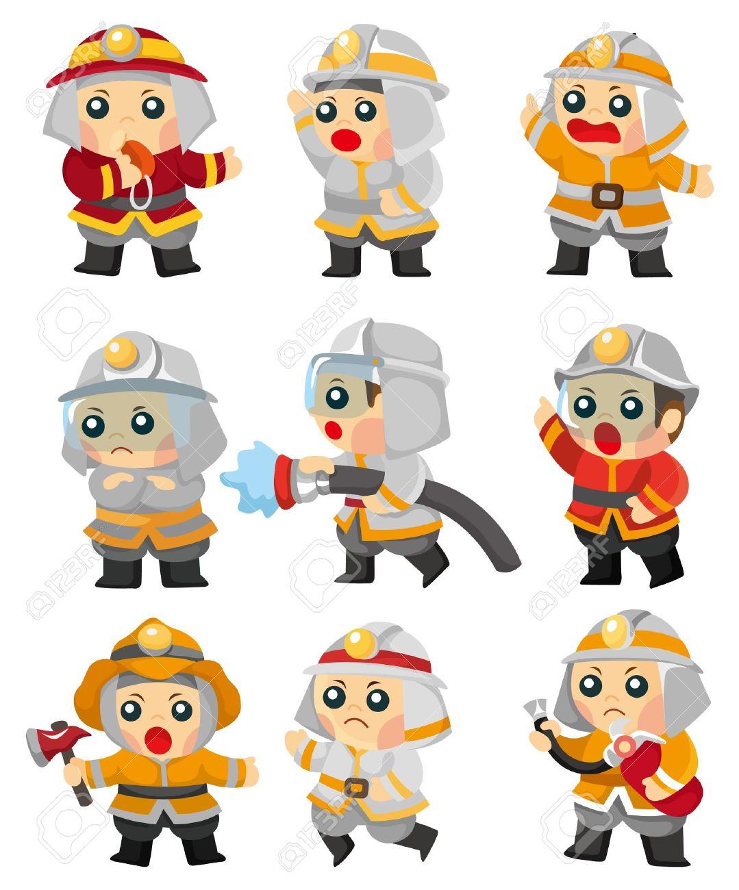 cartoon Fireman icon set Stock Vector - 9598596