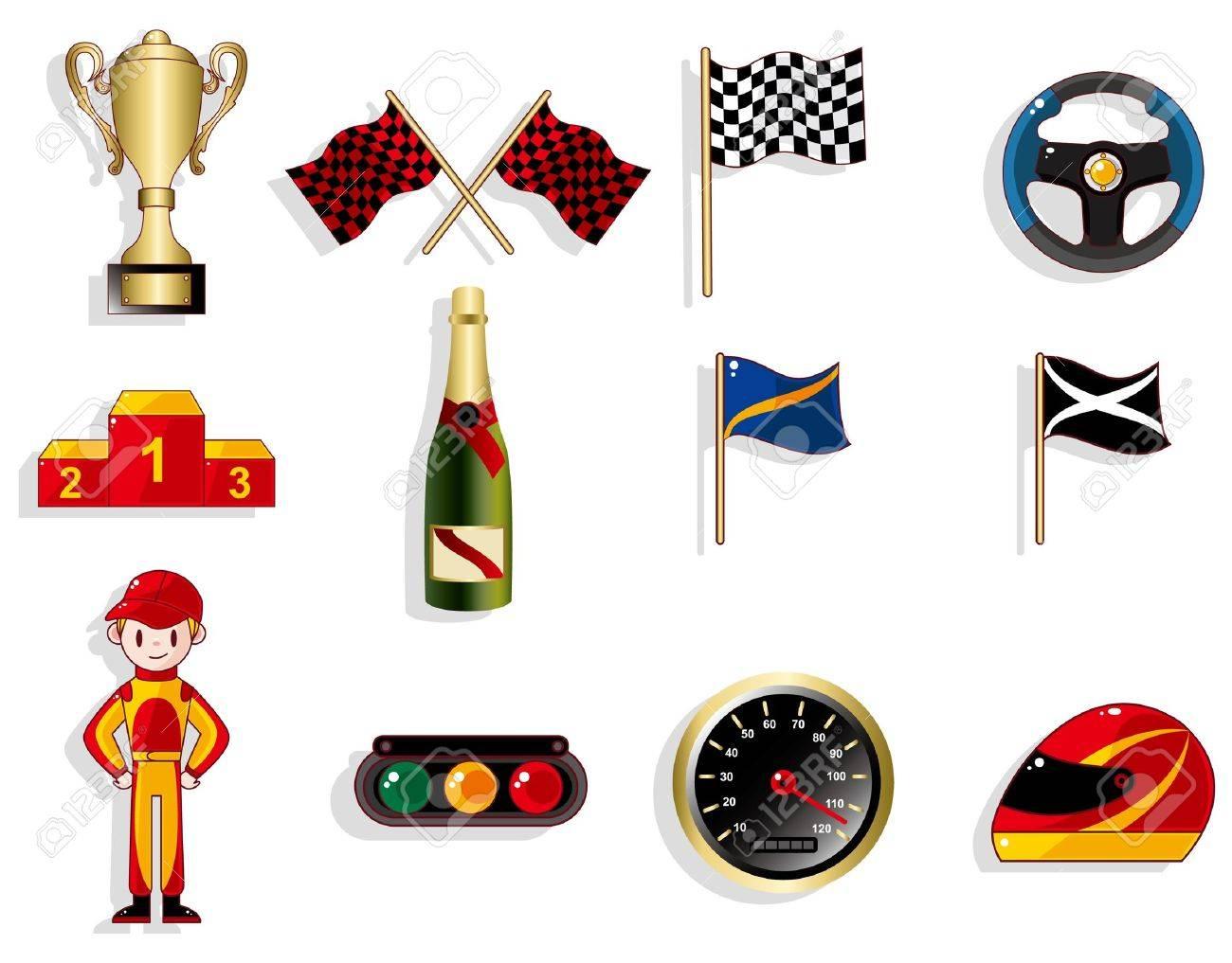 Cartoon F1 Car Racing Icon Set Royalty Free Cliparts Vectors And Stock Illustration Image 9598648