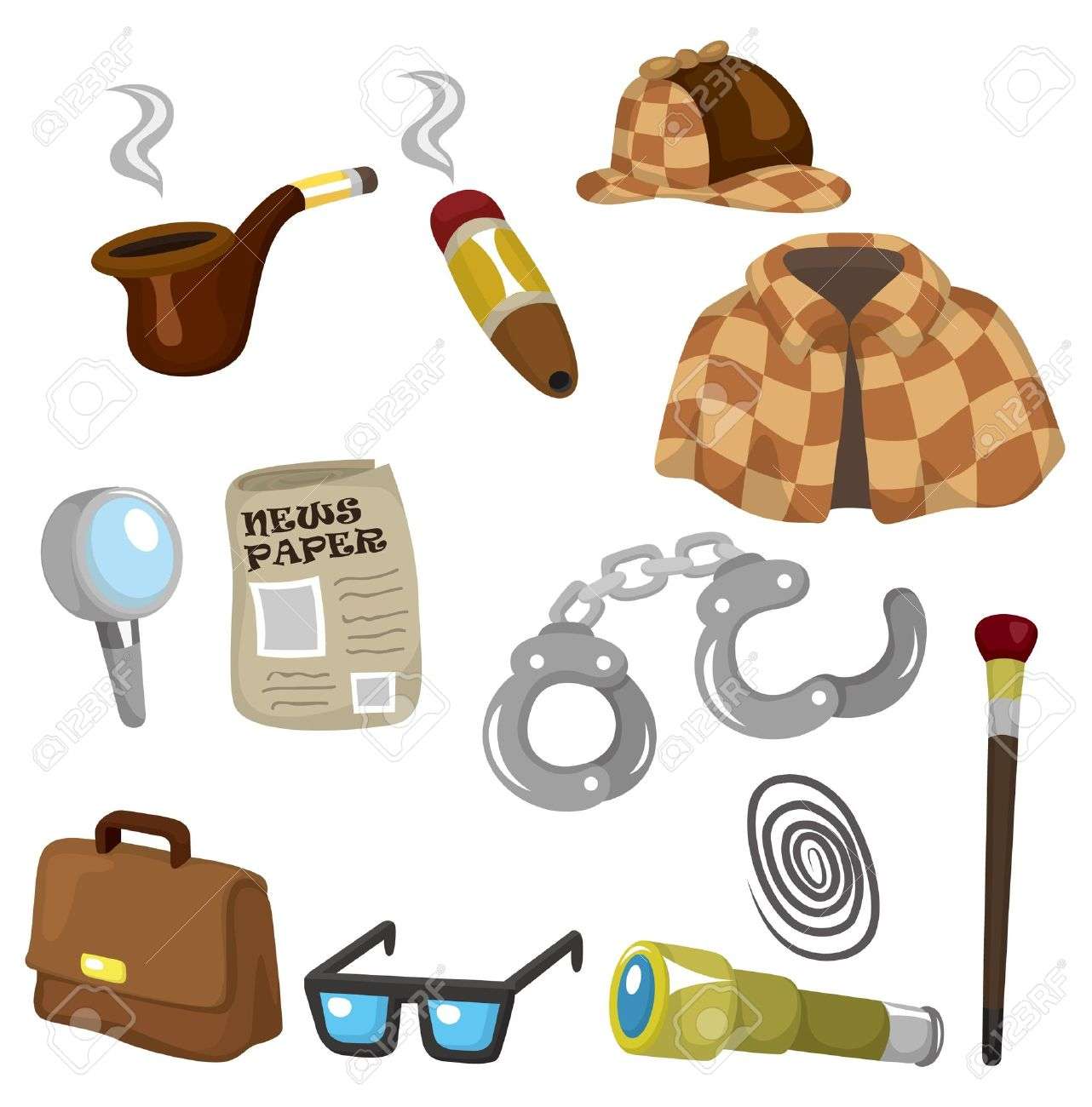 Cartoon detective equipment icon set Stock Vector - 9635582