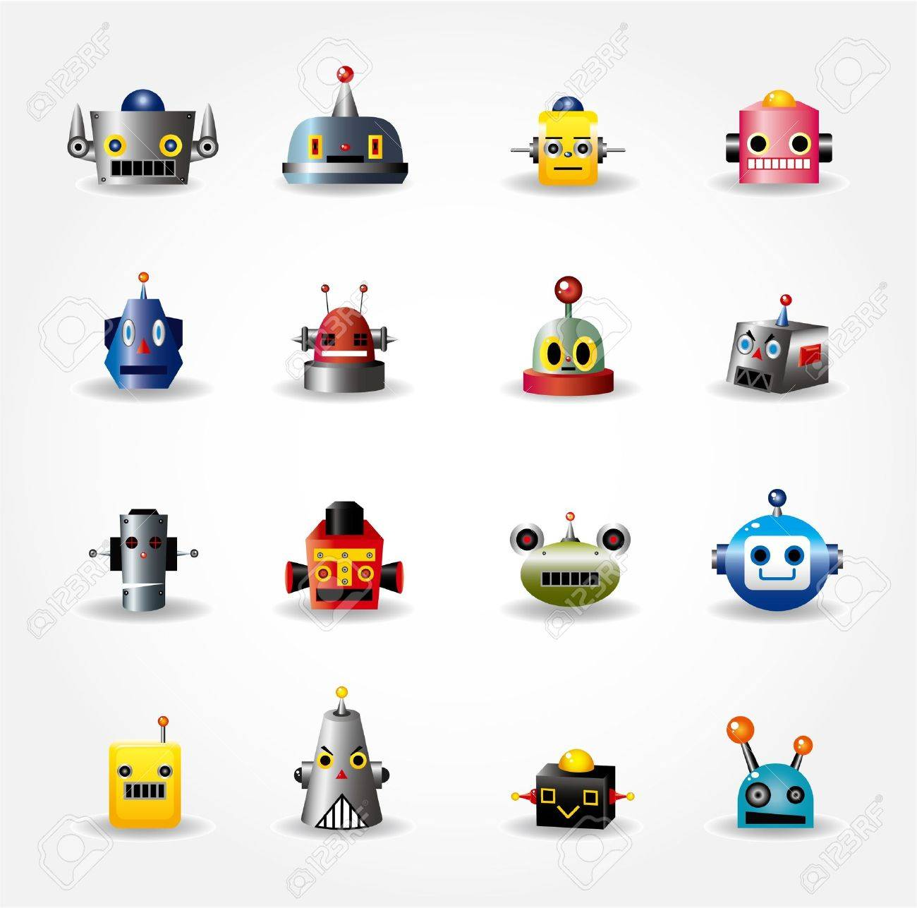 cartoon robot face icon , web icon set Stock Vector - 9895453