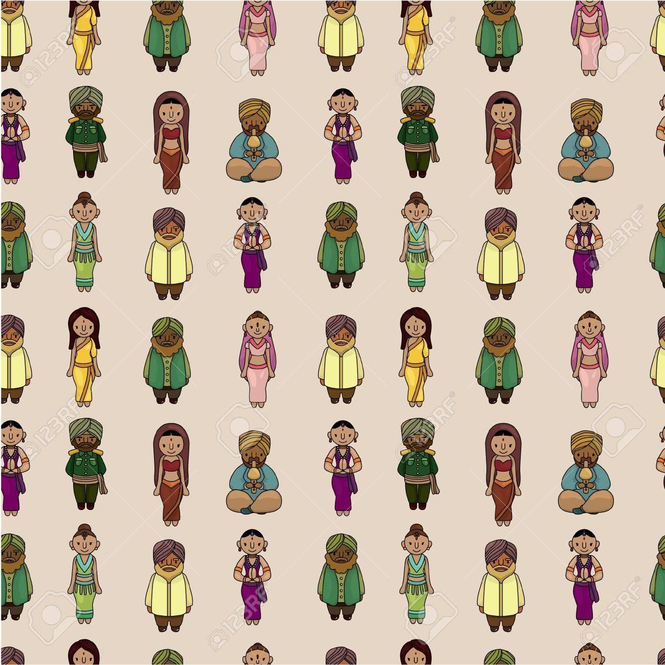 Vector of cartoon Indian seamless pattern Stock Vector - 9829692