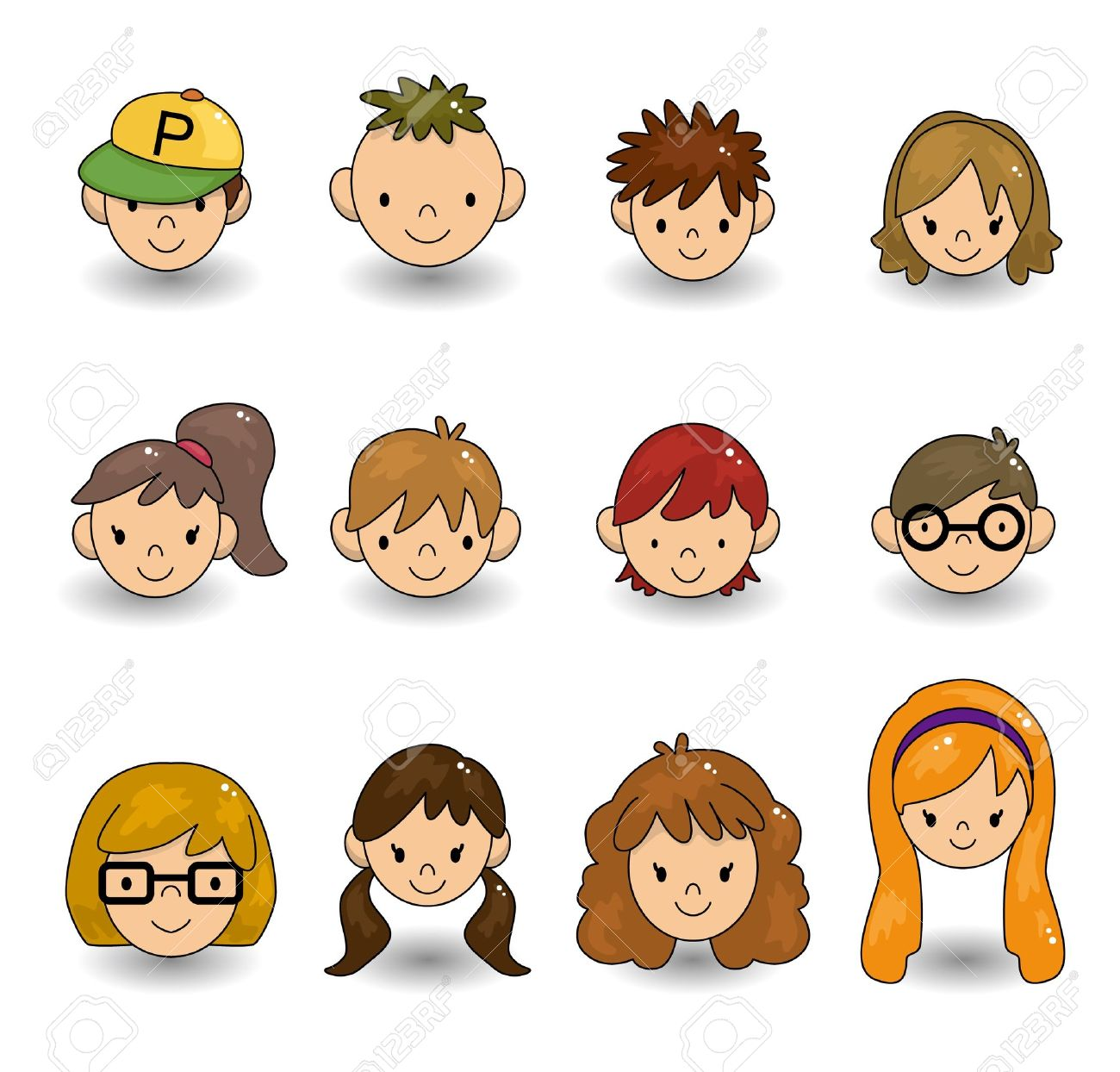cartoon young people face icon Stock Vector - 9935211