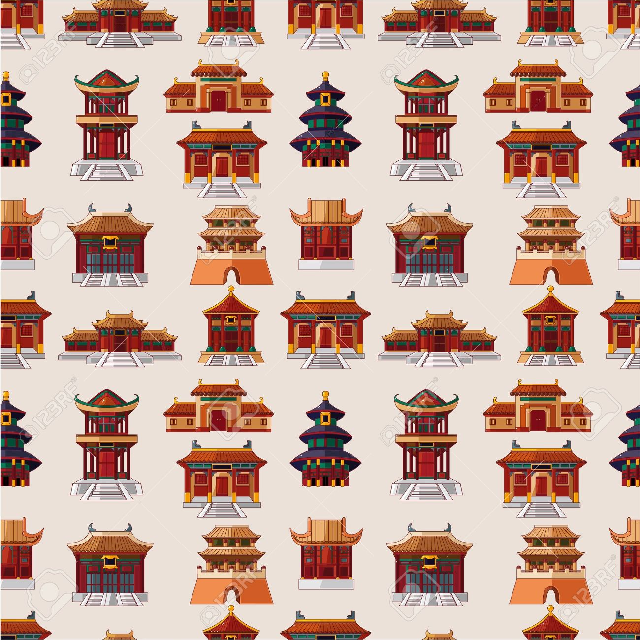 cartoon Chinese house seamless pattern Stock Vector - 9935355