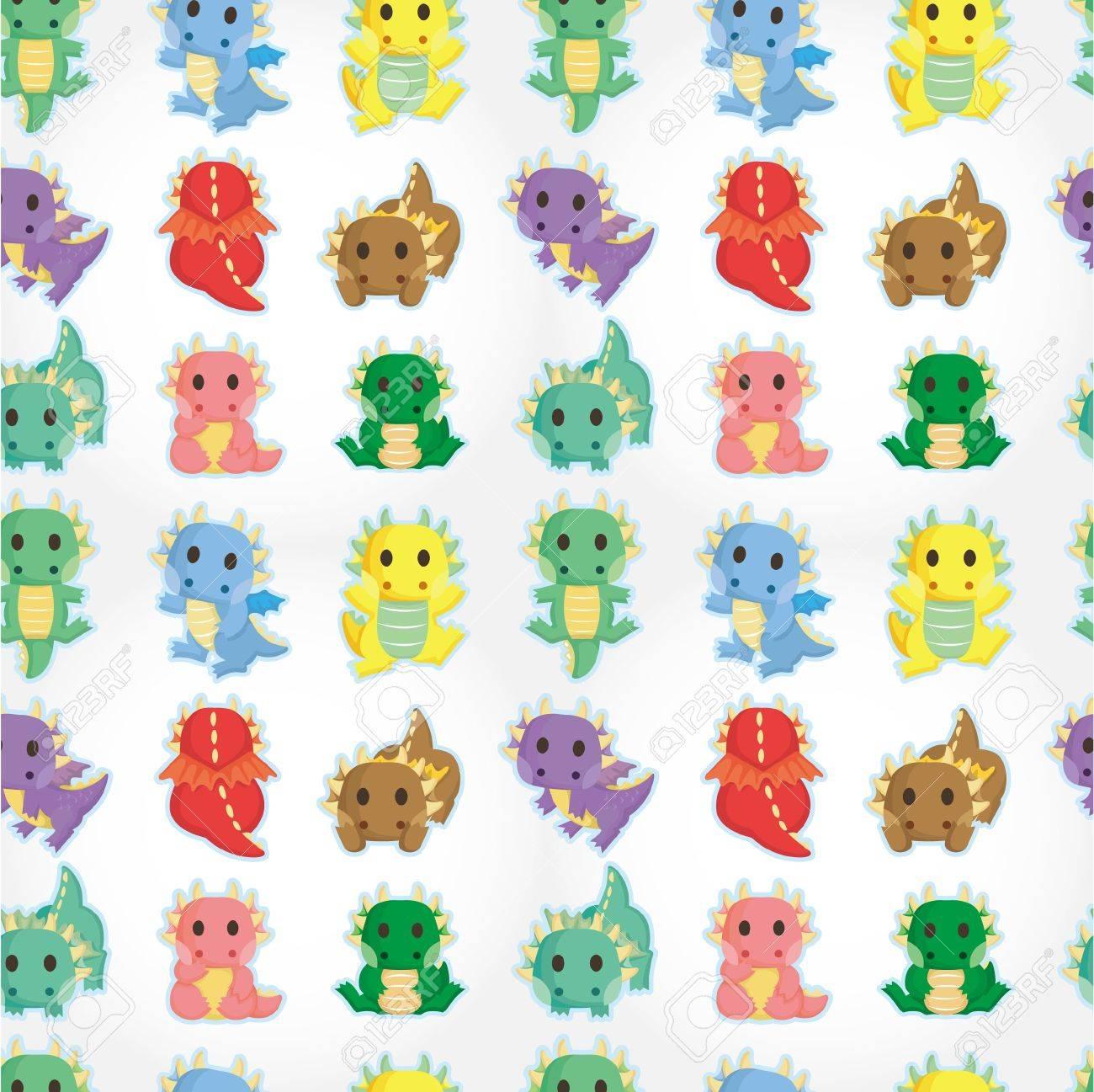 cartoon fire dragon seamless pattern Stock Vector - 9935303