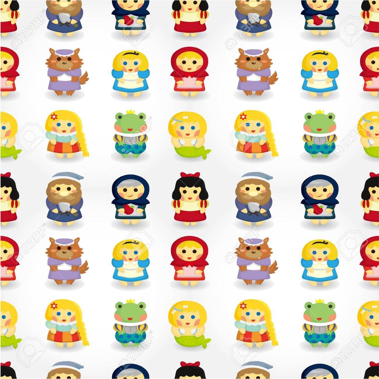 cartoon story people seamless pattern Stock Vector - 9935301