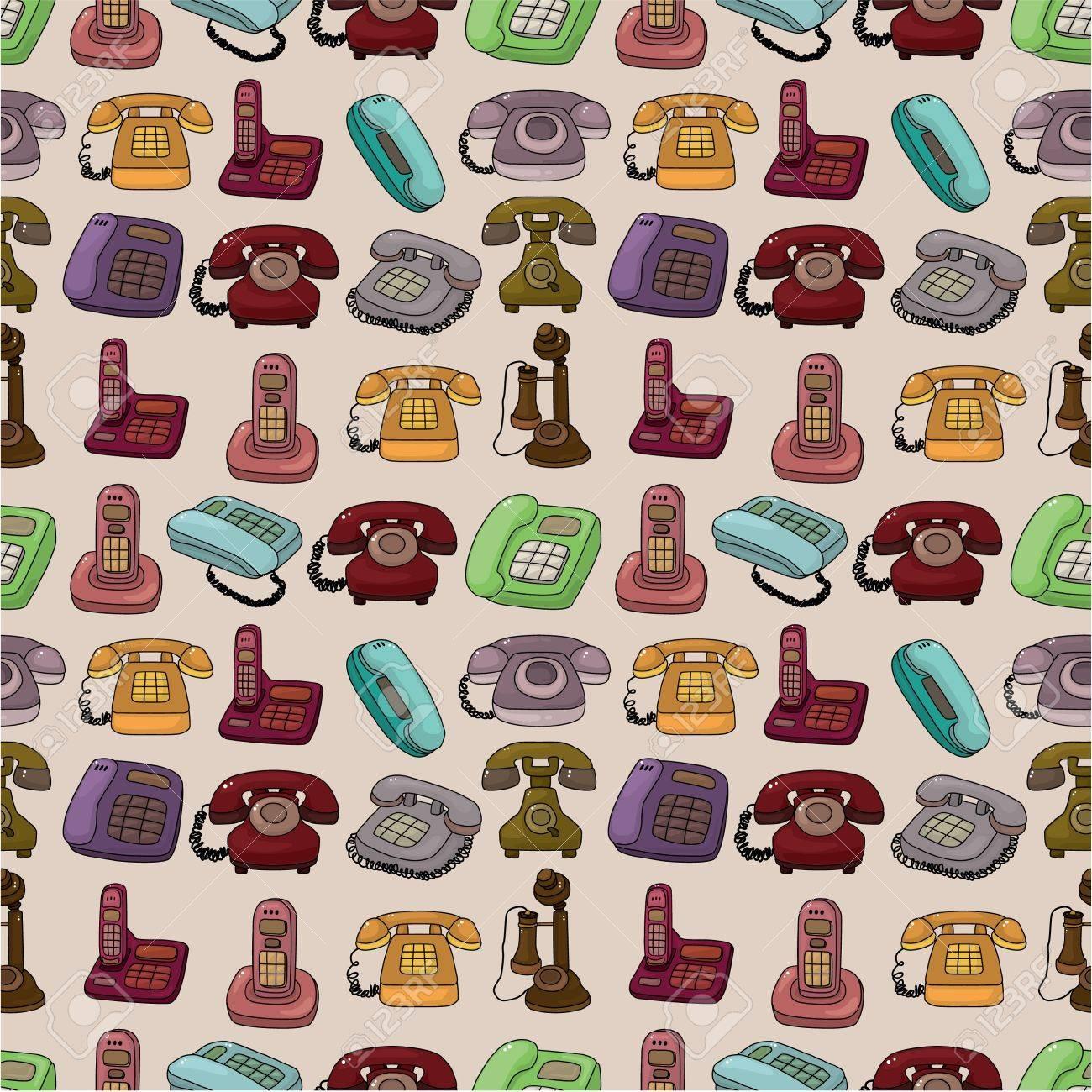 funny retro cartoon phone seamless pattern - 9936304