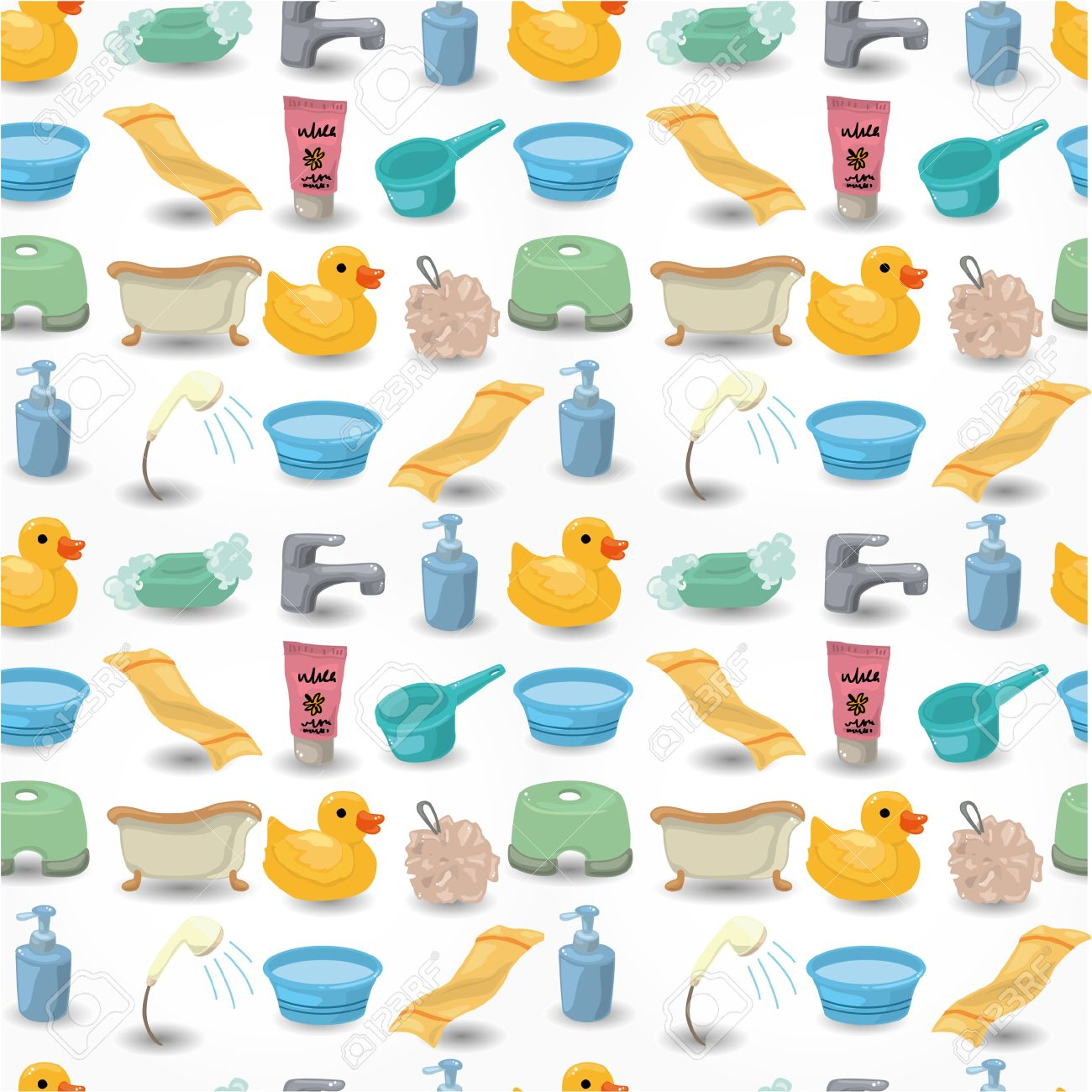 Cartoon Bathroom Equipment Seamless Pattern Royalty Free Cliparts