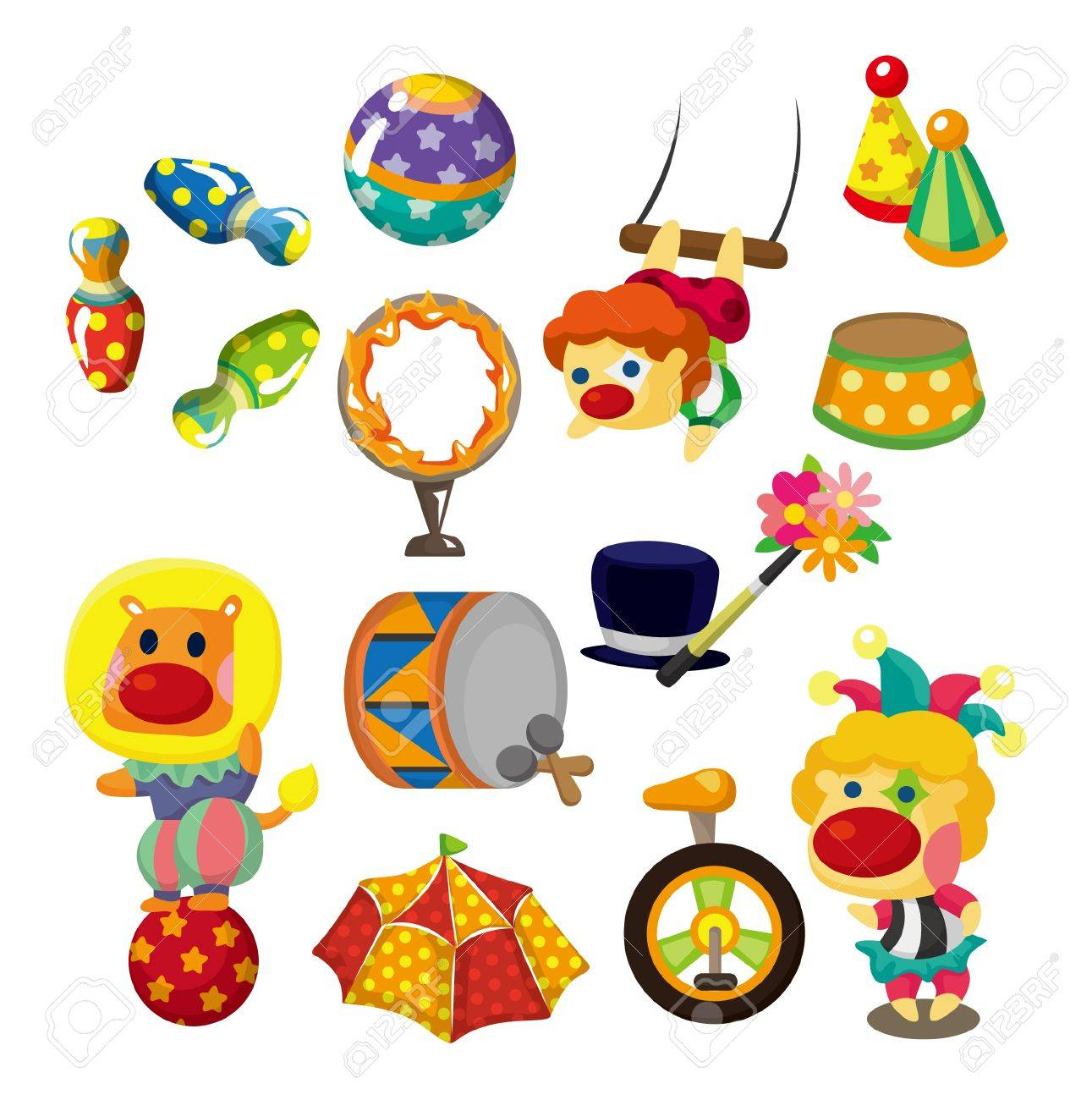 cartoon happy circus show icons collection Stock Vector - 10012274