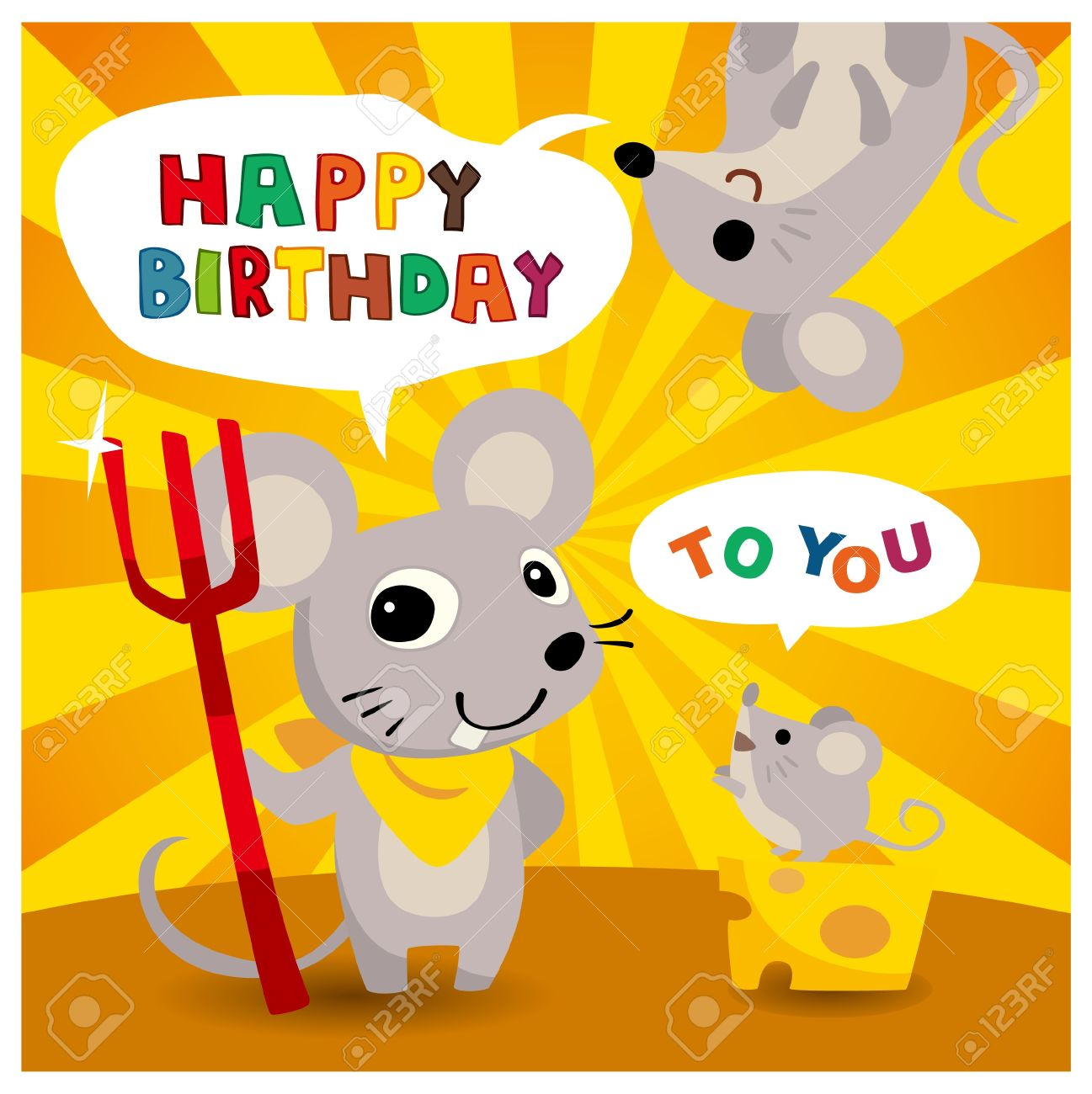 Cartoon Mouse Friend Birthday Card Royalty Free Cliparts Vectors