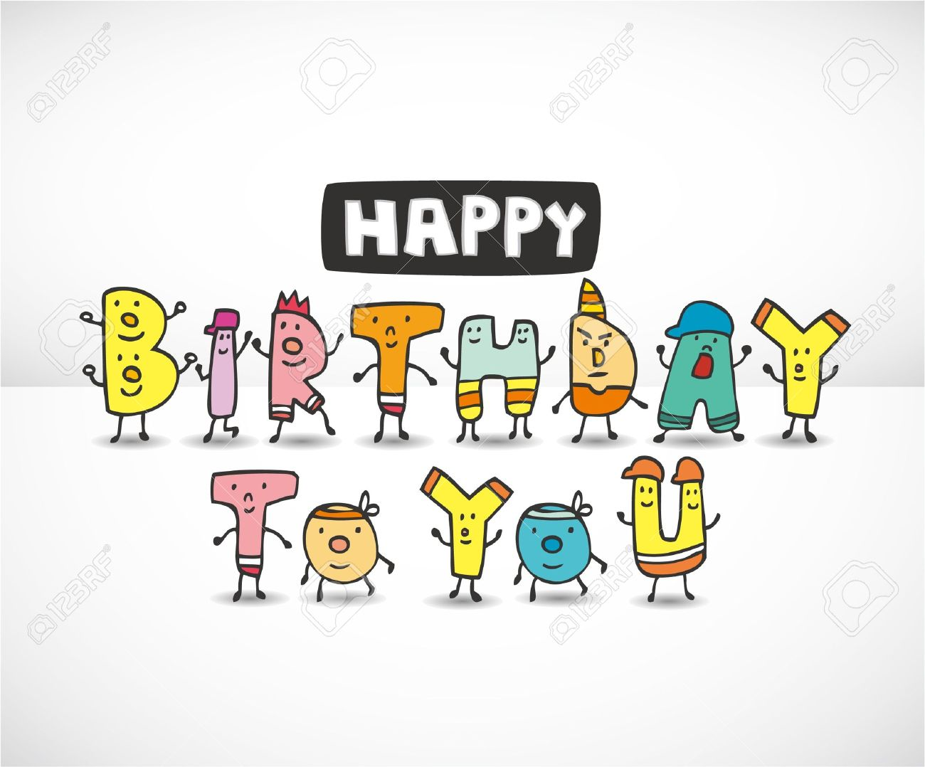 Cartoon Letters Birthday Card Royalty Free Cliparts Vectors Jpg 1300x1078