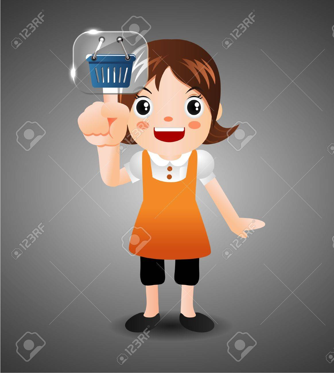 cartoon girl  touching the screen with her finger Stock Vector - 10135316