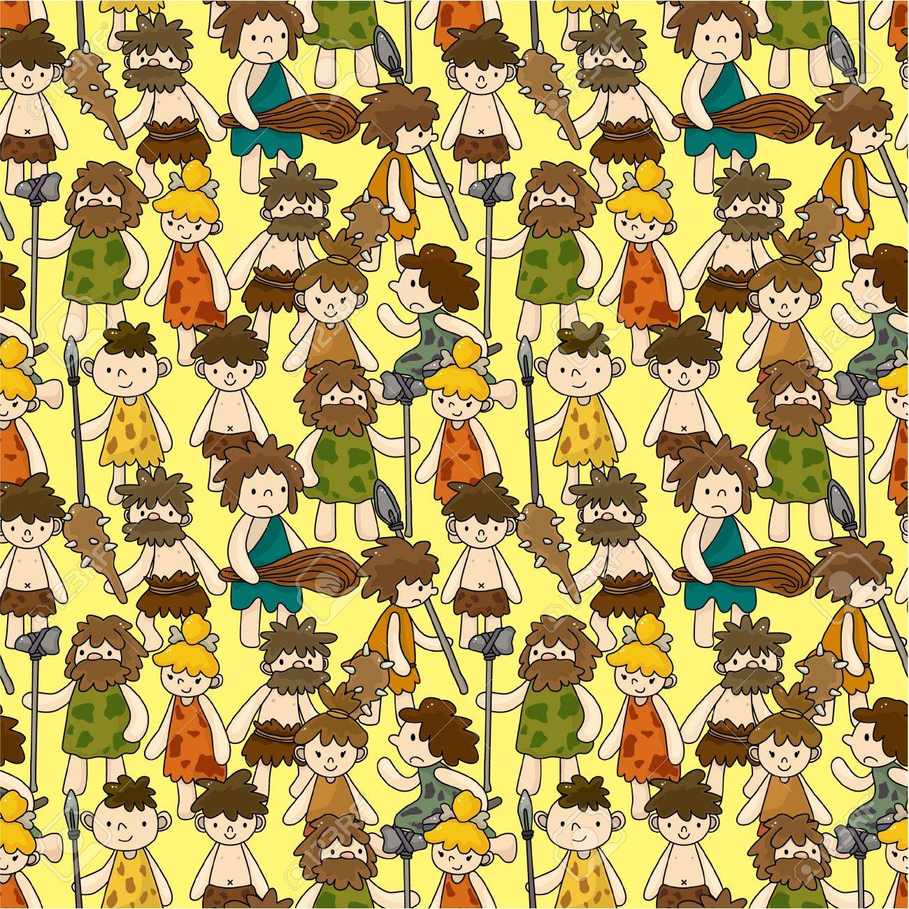 cartoon Caveman seamless pattern Stock Vector - 10135321