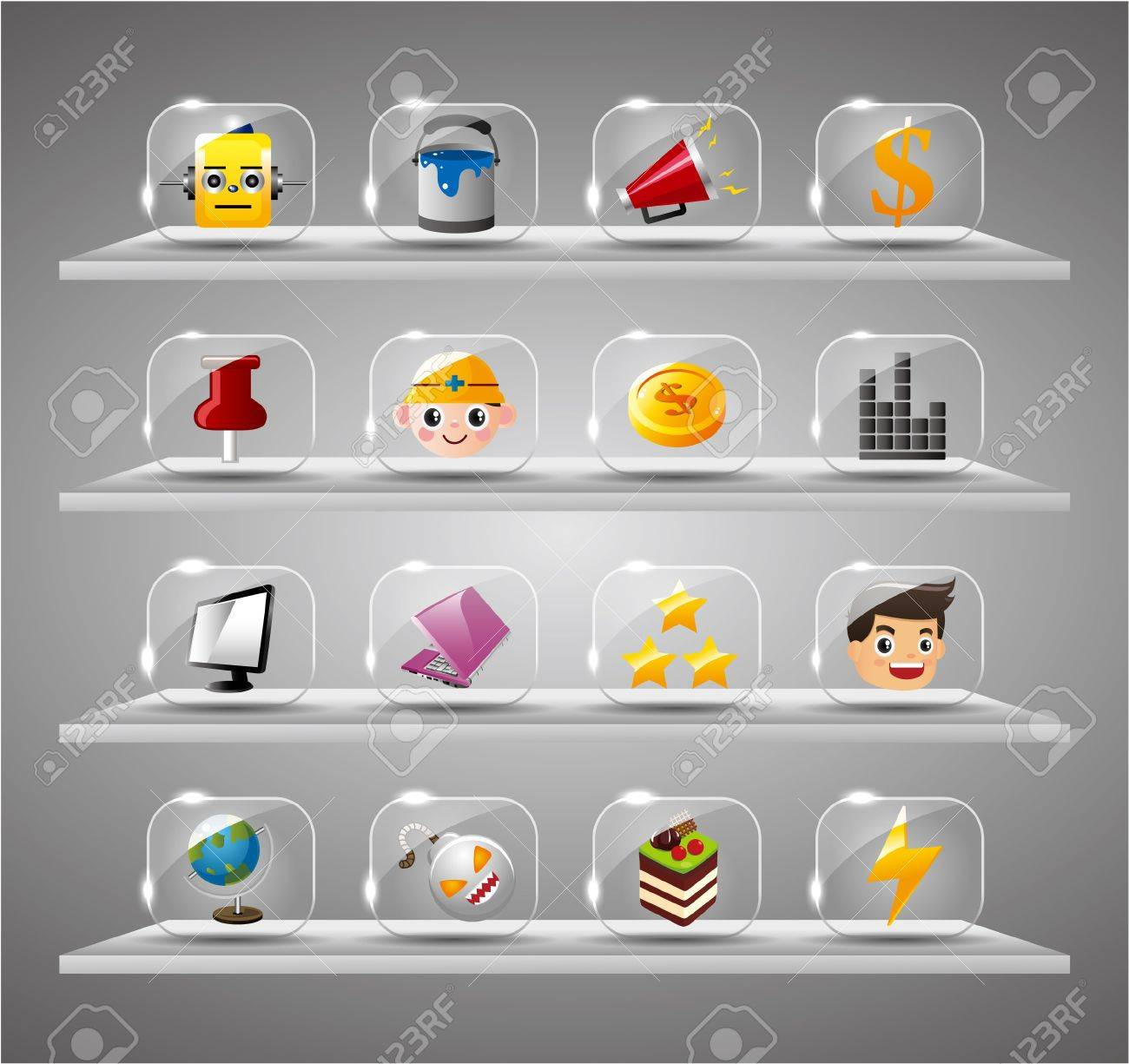 Website Internet Icons ,Transparent Glass Button Stock Vector - 10178806