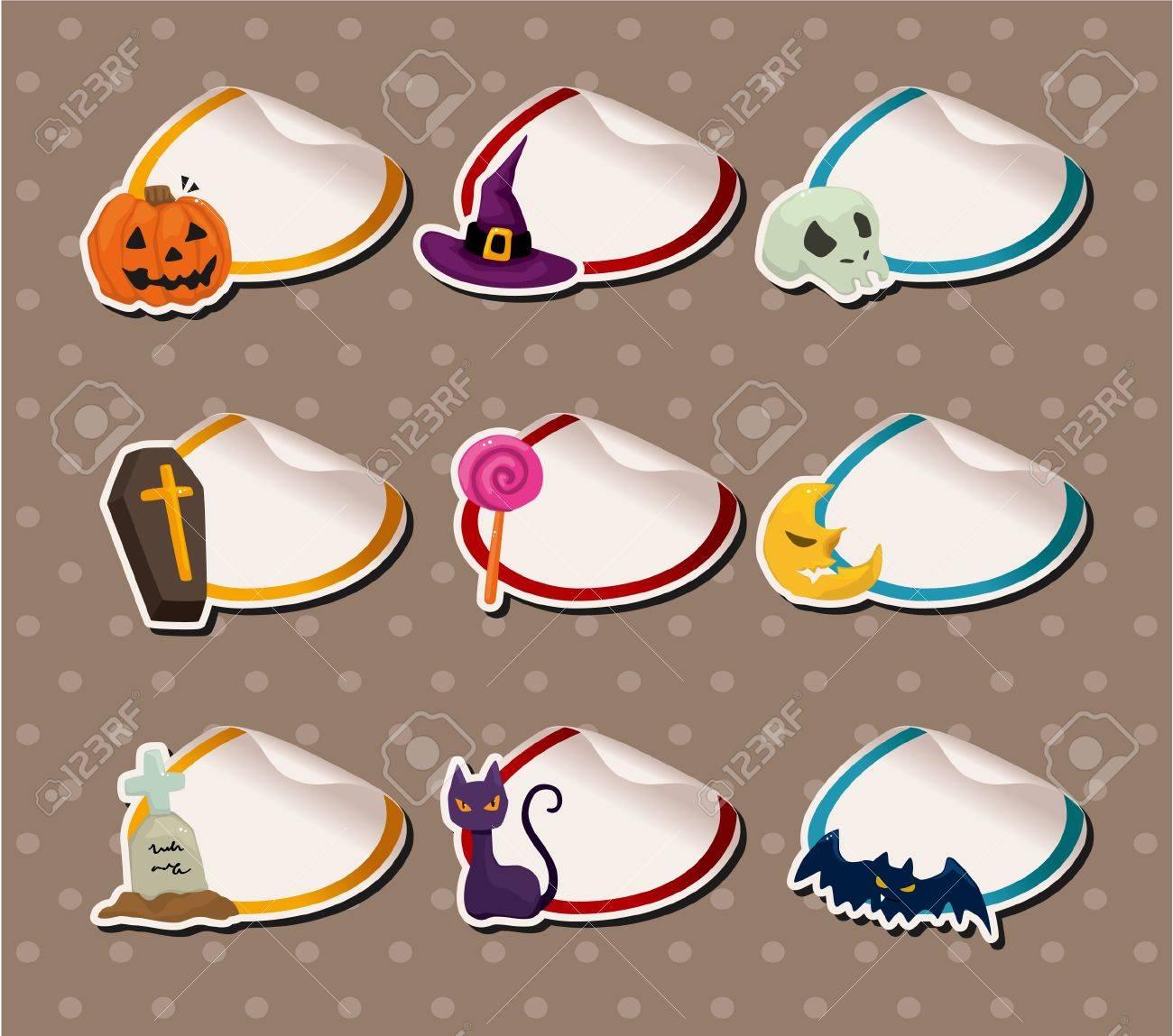 cartoon Halloween Sticker Label Stock Vector - 10178815