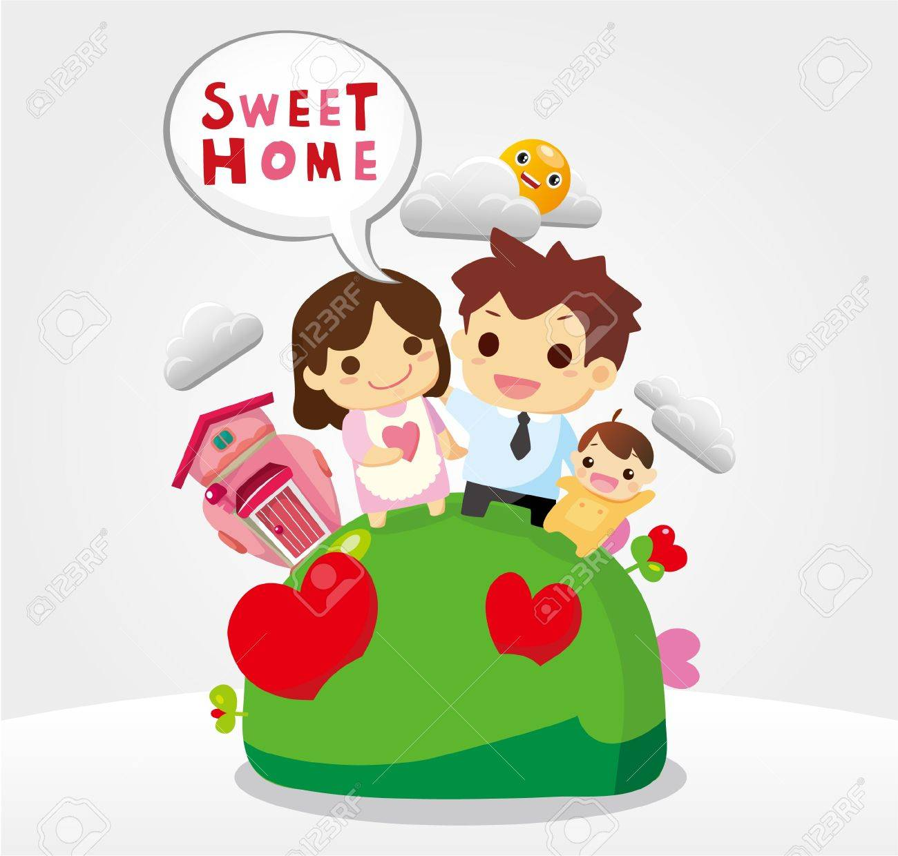 sweet home, family card Stock Vector - 10178808