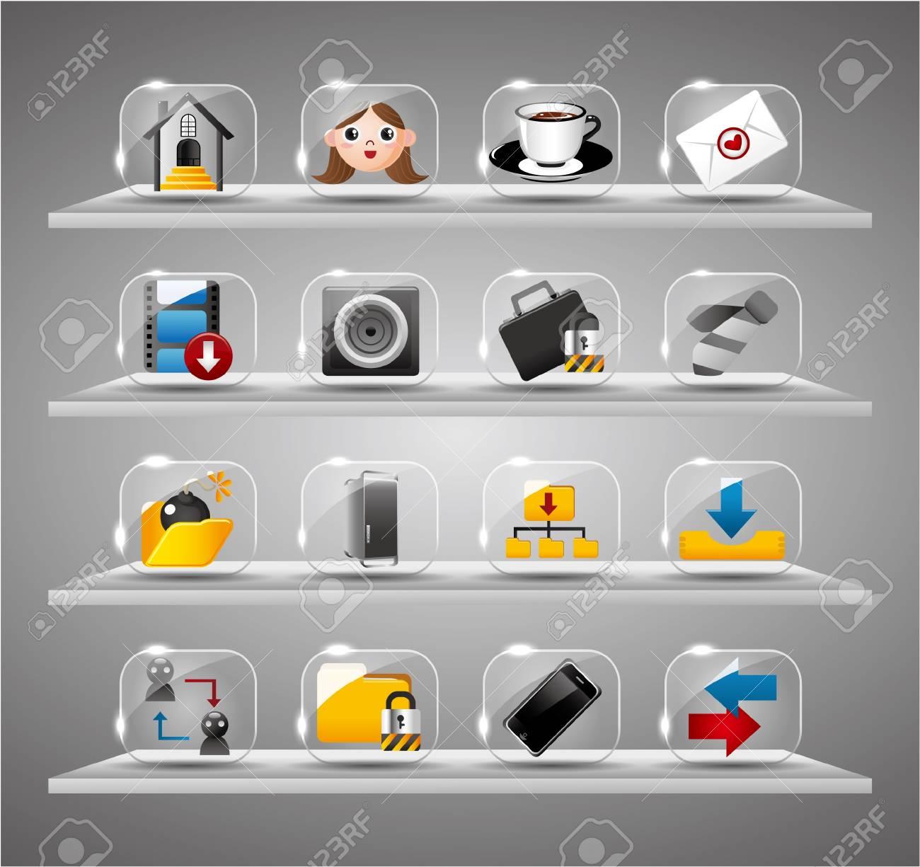 Website Internet Icons ,Transparent Glass Button Stock Vector - 10218182